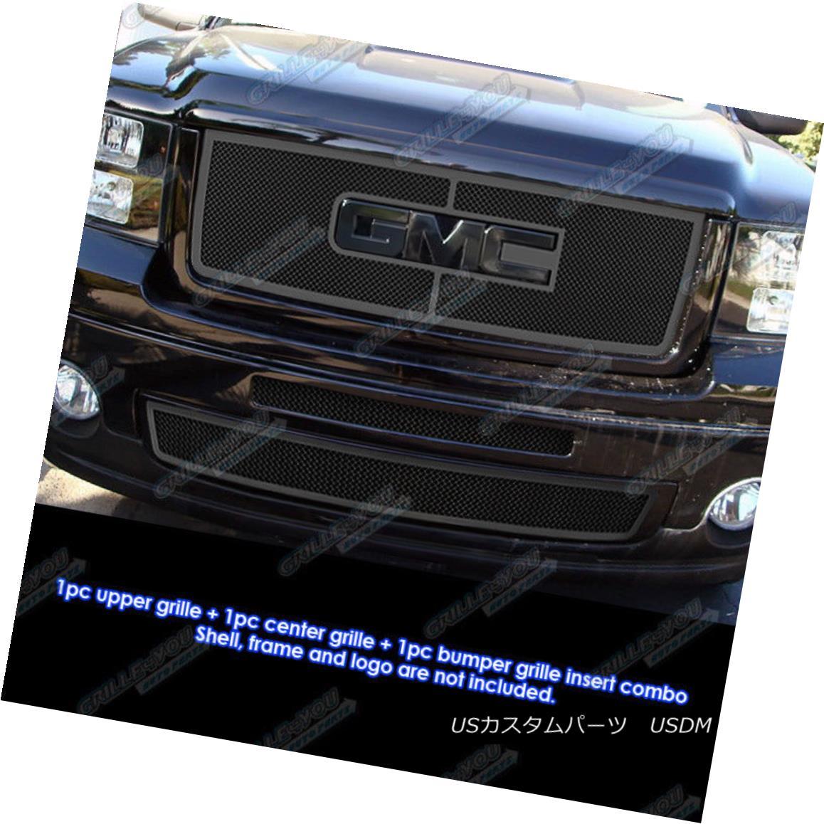 グリル Fits 2007-2013 GMC Sierra 1500 New Body/07-10 Denali Black Mesh Grille Combo フィット2007-2013 GMC Sierra 1500ニューボディ/ 07-10デナリブラックメッシュグリルコンボ
