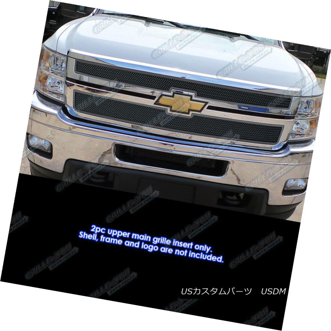 グリル For 2011-2014 Chevy Silverado 2500 HD/3500 HD Stainless Black Mesh Grille 2011-2014シボレーシルバラード2500 HD / 3500 HDステンレスブラックメッシュグリル