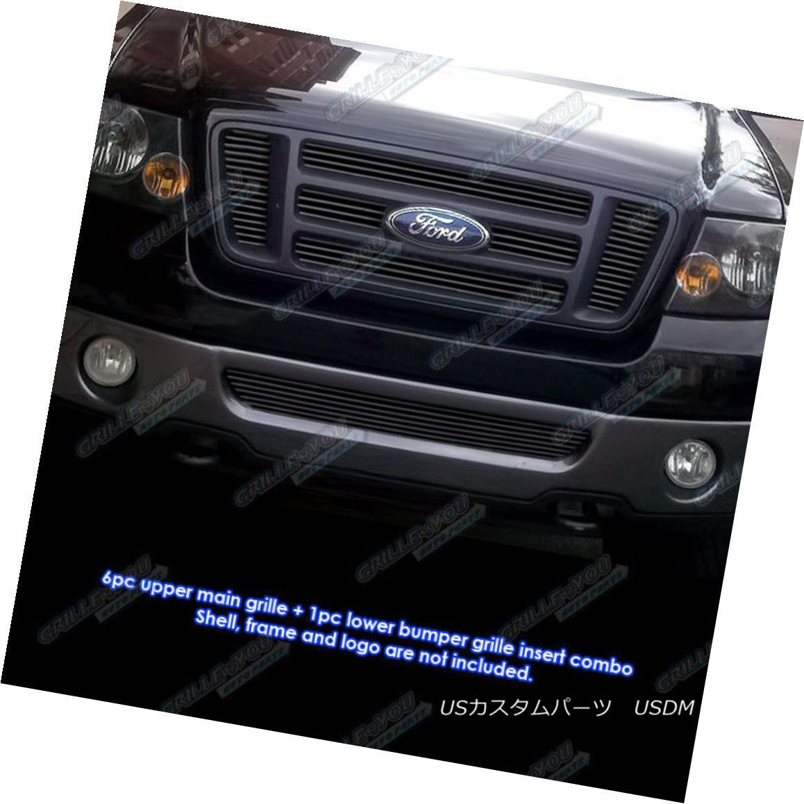 グリル Custom Fits 2006-2008 Ford F-150 Bar Style Black Billet Grill Combo カスタムフィット2006-2008フォードF - 150バースタイルブラックビレットグリルコンボ