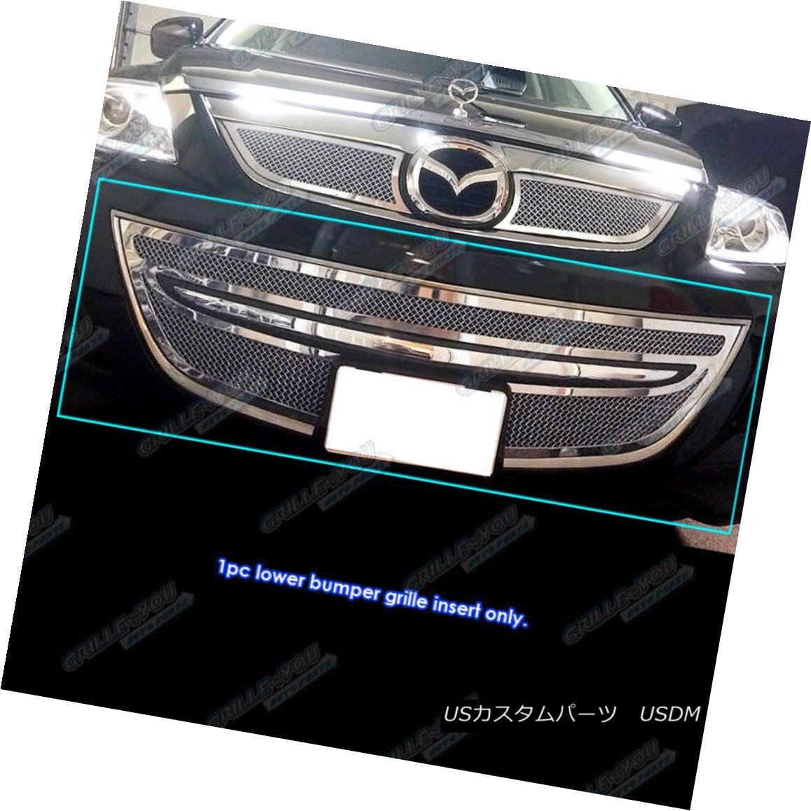 グリル Fits 2010-2013 Mazda CX-9 CX9 Bumper Stainless Steel Mesh Grille Grill Insert フィット2010-2013マツダCX - 9 CX9バンパーステンレスメッシュグリルグリルインサート