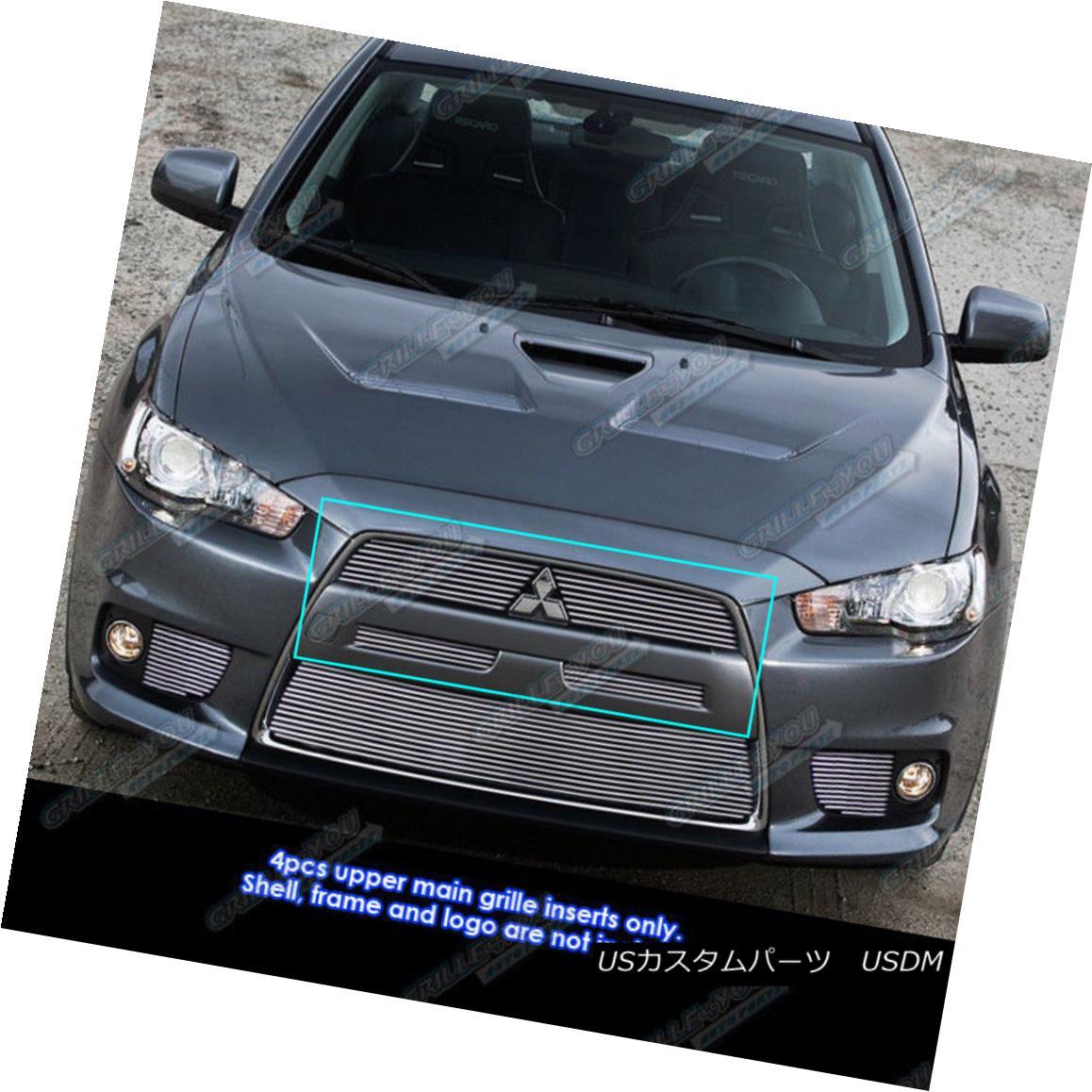 グリル Fits 2008-2015 Mitsubishi Lancer Evolution Billet Grille Insert フィット2008-2015三菱ランサーエボリューションビレットグリルインサート