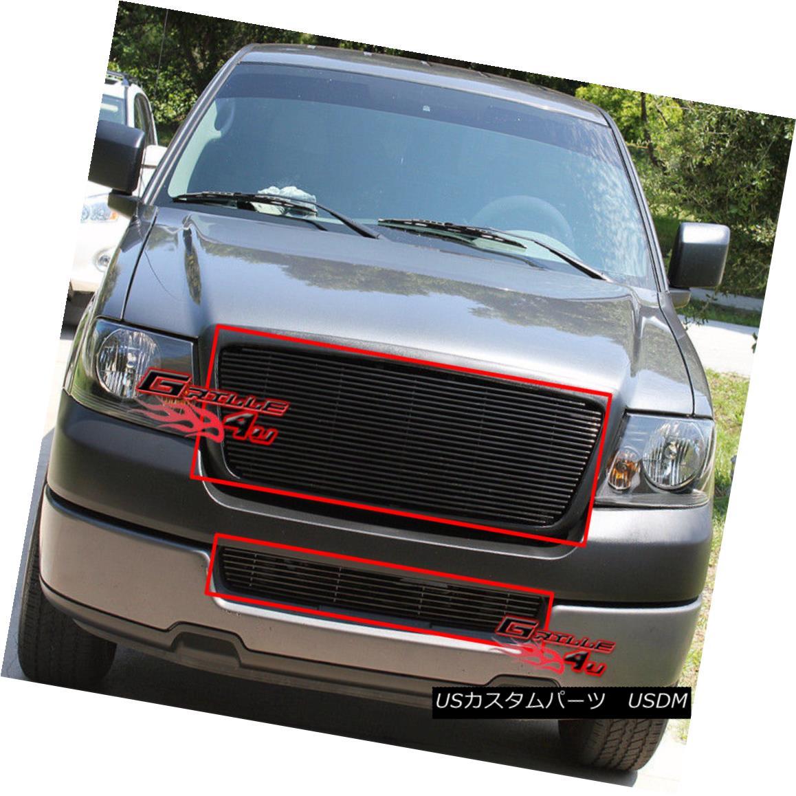 グリル Fits 2006-2008 Ford F-150 Black Billet Grille Combo フィット2006-2008フォードF - 150ブラックビレットグリルコンボ
