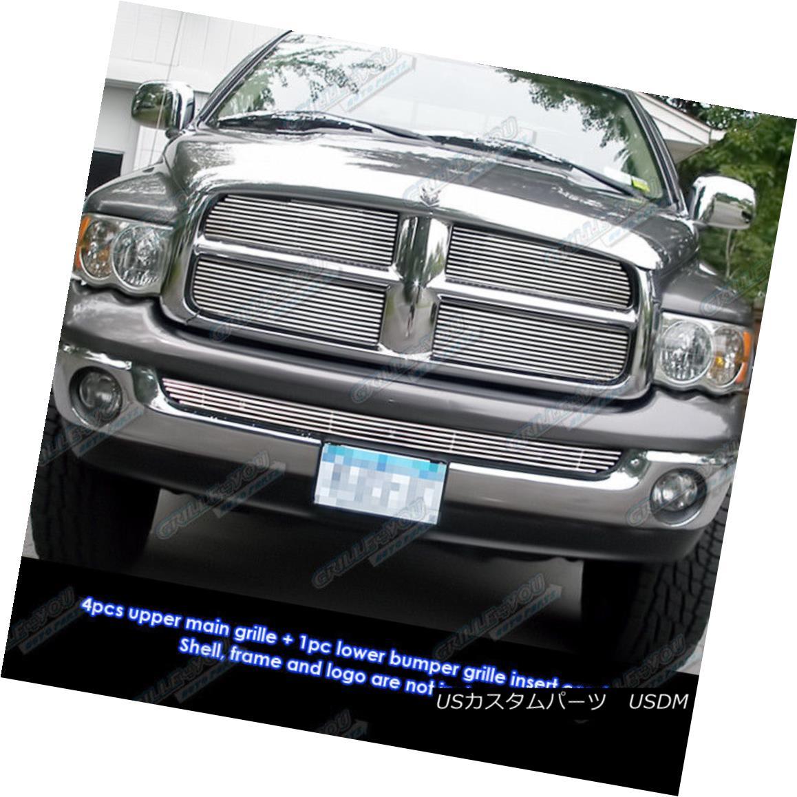 グリル Fits 2002-2005 Dodge Ram Regular Model Phat Billet Grille Combo フィット2002-2005ダッジラムレギュラーモデルファットビレットグリルコンボ