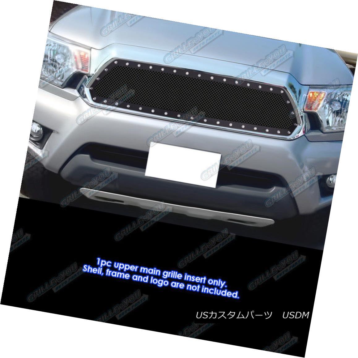 グリル Fits 2012-2015 Toyota Tacoma Stainless Steel Black Rivet Mesh Grille Insert フィット2012-2015トヨタタコマステンレススチールブラックリベットメッシュグリルインサート