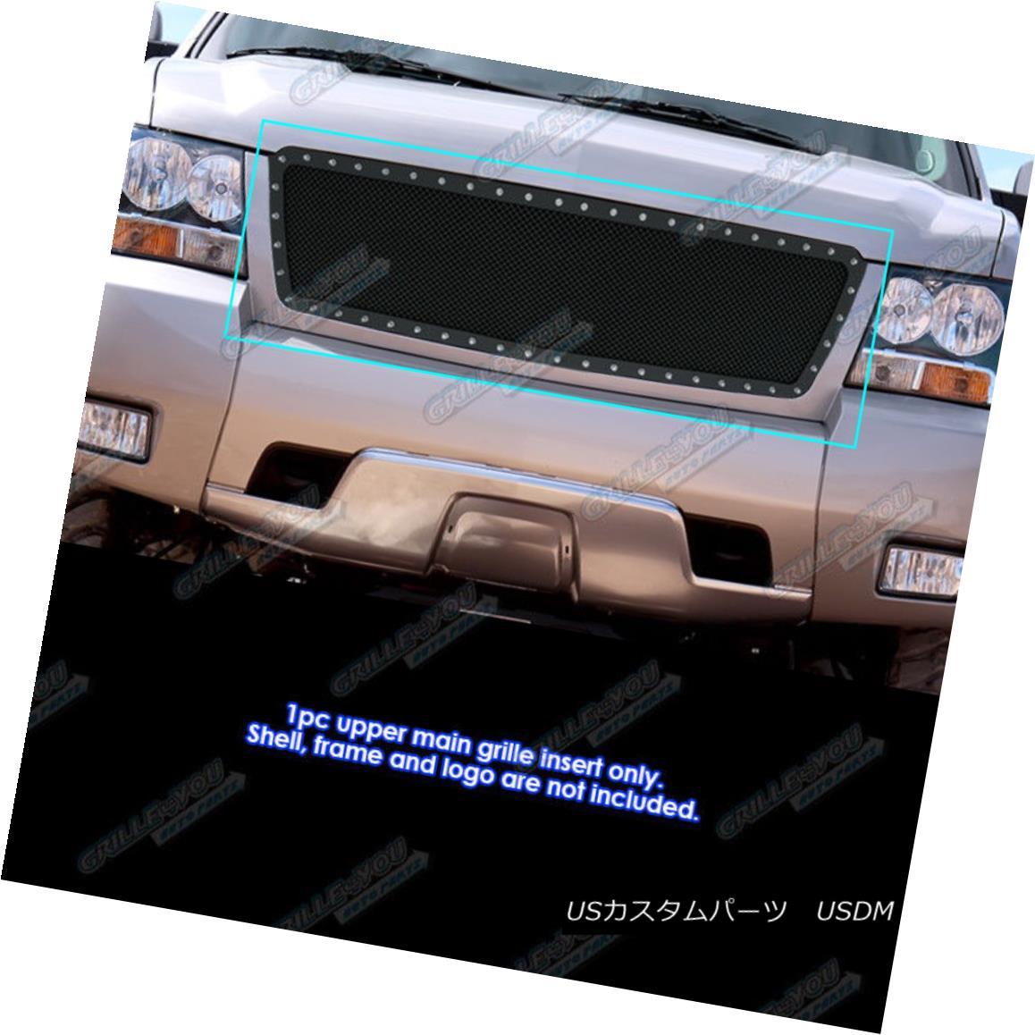 グリル Fits 2007-2013 Chevy Avalanche/Suburban/Tahoe Stainless Black Rivet Mesh Grille フィット2007年?2013年シボレーアバランチェ/スブ rban /タホスステンレスブラックリベットメッシュグリル