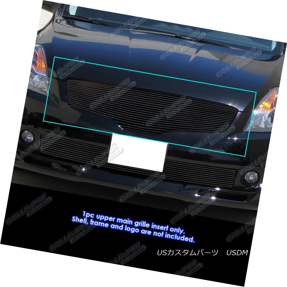 グリル Fits 07-09 Nissan Altima Sedan Black Billet Grille Grill Insert フィット07-09日産アルティマセダンブラックビレットグリルグリルインサート