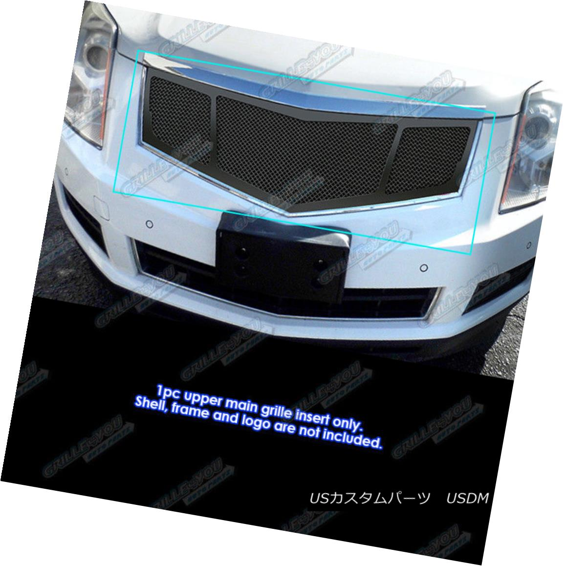 グリル Fits 2010-2015 Cadillac SRX Stainless Steel Black Mesh Grille Insert フィット2010-2015キャデラックSRXステンレススチールブラックメッシュグリルインサート