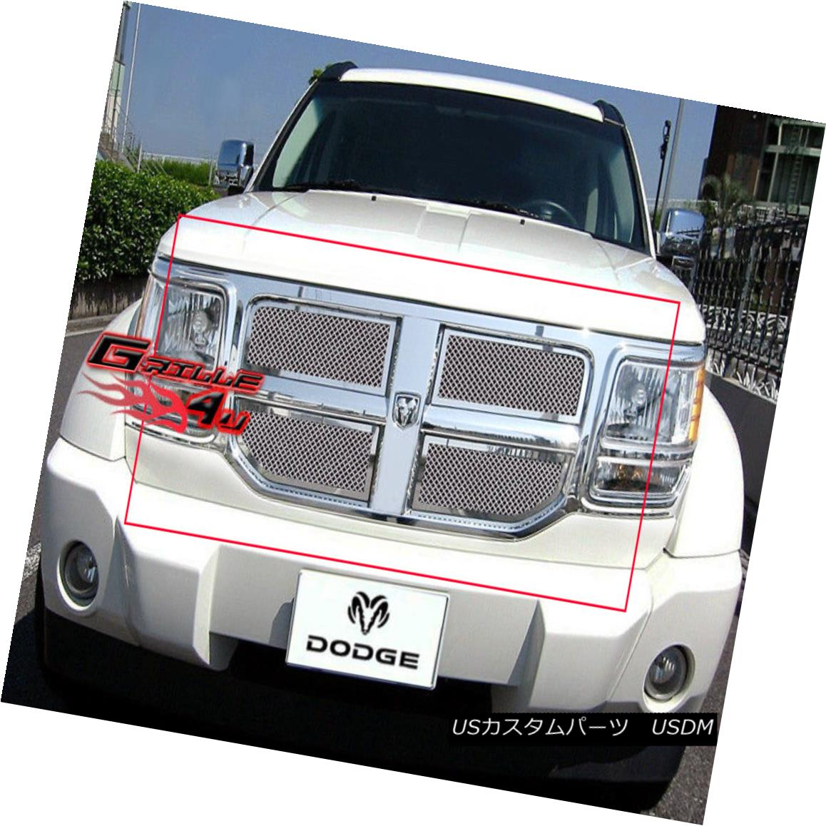 グリル Fits 07-11 2011 Dodge Nitro Stainless Mesh Grille Insert フィット07-11 2011ダッジニトロステンレスメッシュグリルインサート