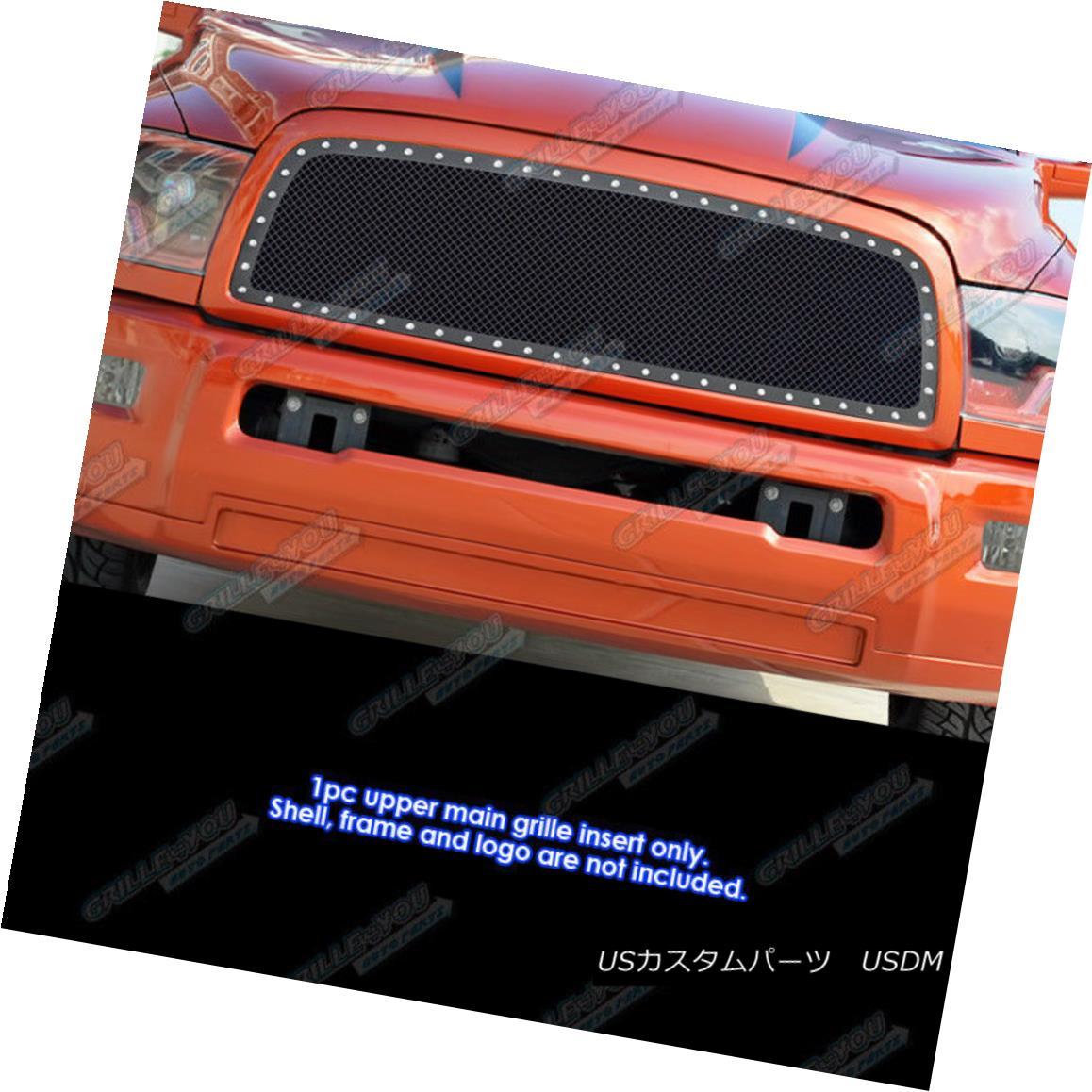 グリル Fits 2010-2012 Dodge Ram 2500/ 3500 Stainless Black Rivet Studs Mesh Grille フィット2010-2012ダッジラム2500/3500ステンレスブラックリベットスタッドメッシュグリル