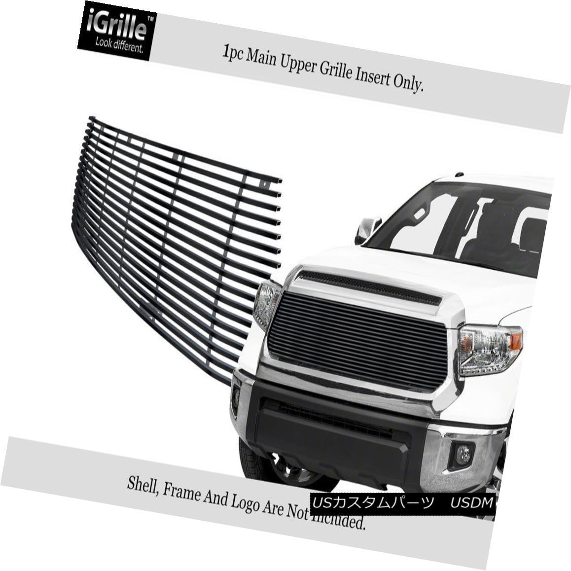 グリル Fits 2014-2018 Toyota Tundra Upper Stainless Steel Black Billet Grille フィット2014-2018トヨタトンドラアッパーステンレススチールブラックビレットグリル