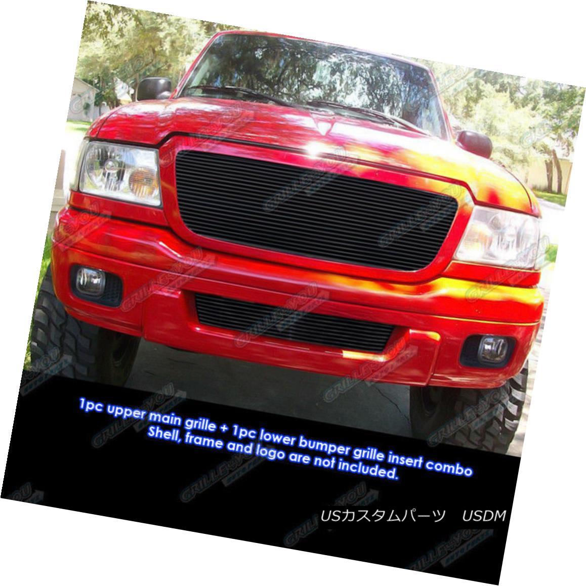 グリル Custom Fits 04-05 Ford Ranger All Model Black Billet Grill Combo カスタムフィット04-05 Ford Ranger全モデルブラックビレットグリルコンボ