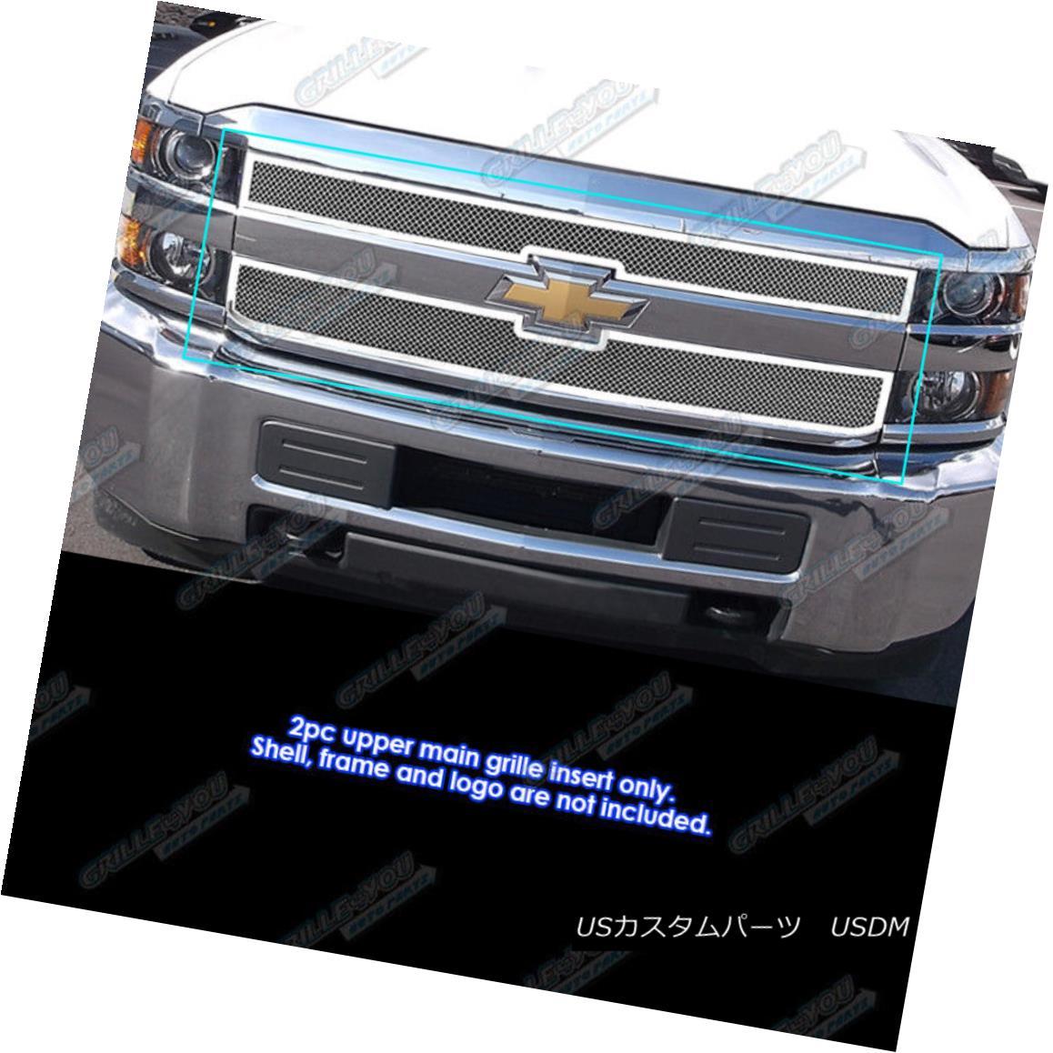 グリル Fits 2015-2016 Chevy Silverado 2500HD/3500HD Stainless Steel Mesh Grille フィット2015-2016シボレーシルバラード2500HD / 3500HDステンレスメッシュグリル