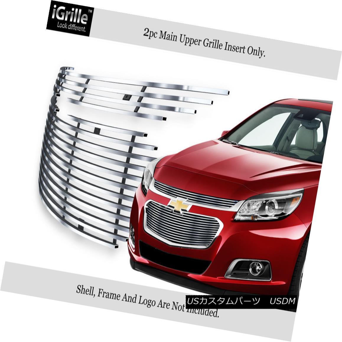 グリル For 2014-2015 Chevy Malibu Main Upper Stainless Steel Billet Grille Insert 2014-2015シボレーマリブメインアッパーステンレススチールビレットグリルインサート