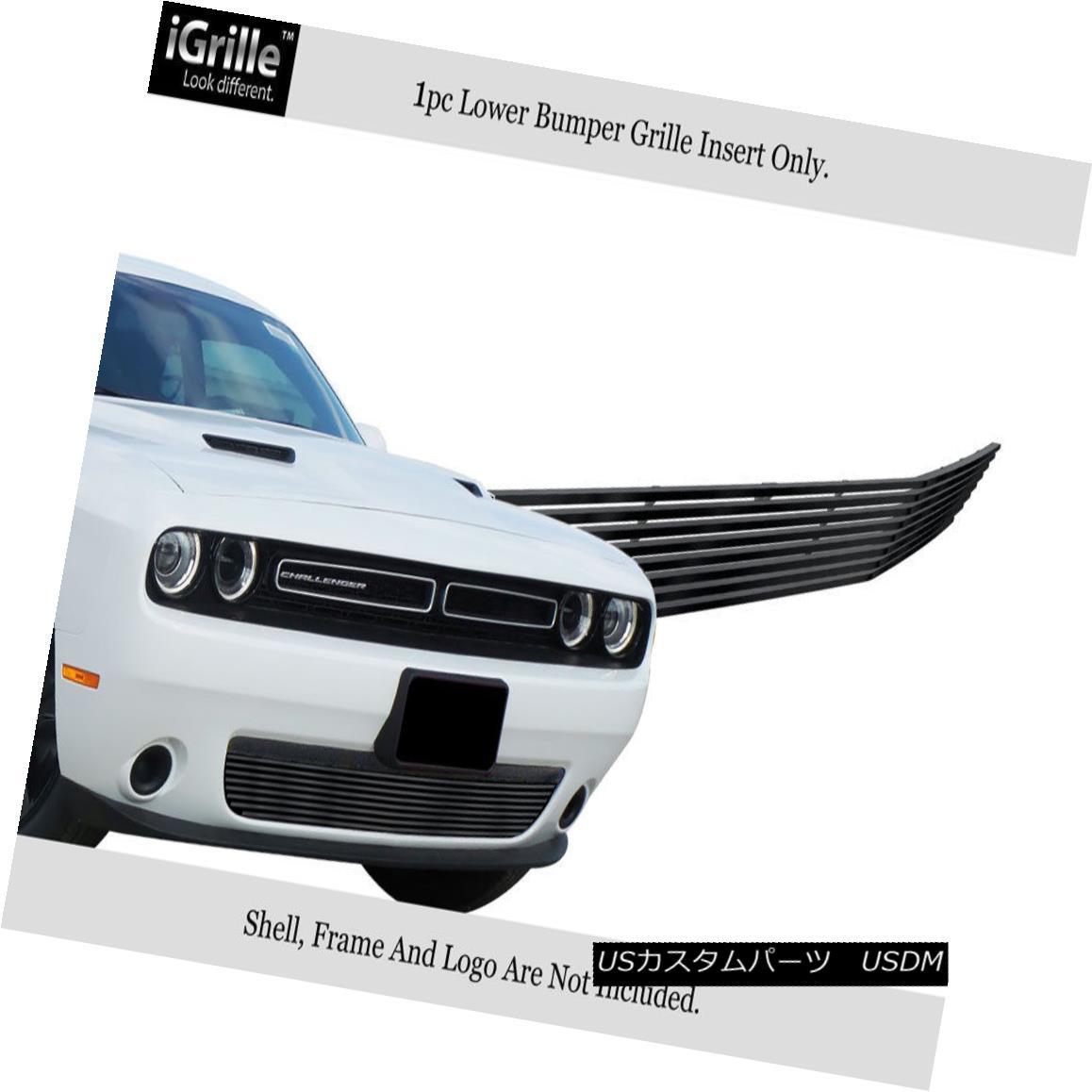 グリル Fits 15-18 Dodge Challenger W/O Cruise Contr Bumper Stainless Black Billet Grill フィット15-18ダッジチャレンジャーW / Oクルーズコントロールバンパーステンレスブラックビレットグリル
