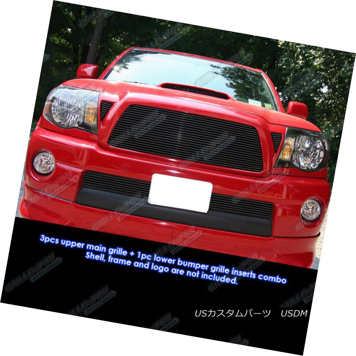 グリル Fits 05-10 Toyota Tacoma Black Billet Grille Grill Combo Insert フィット05-10トヨタタコマブラックビレットグリルグリルコンボインサート