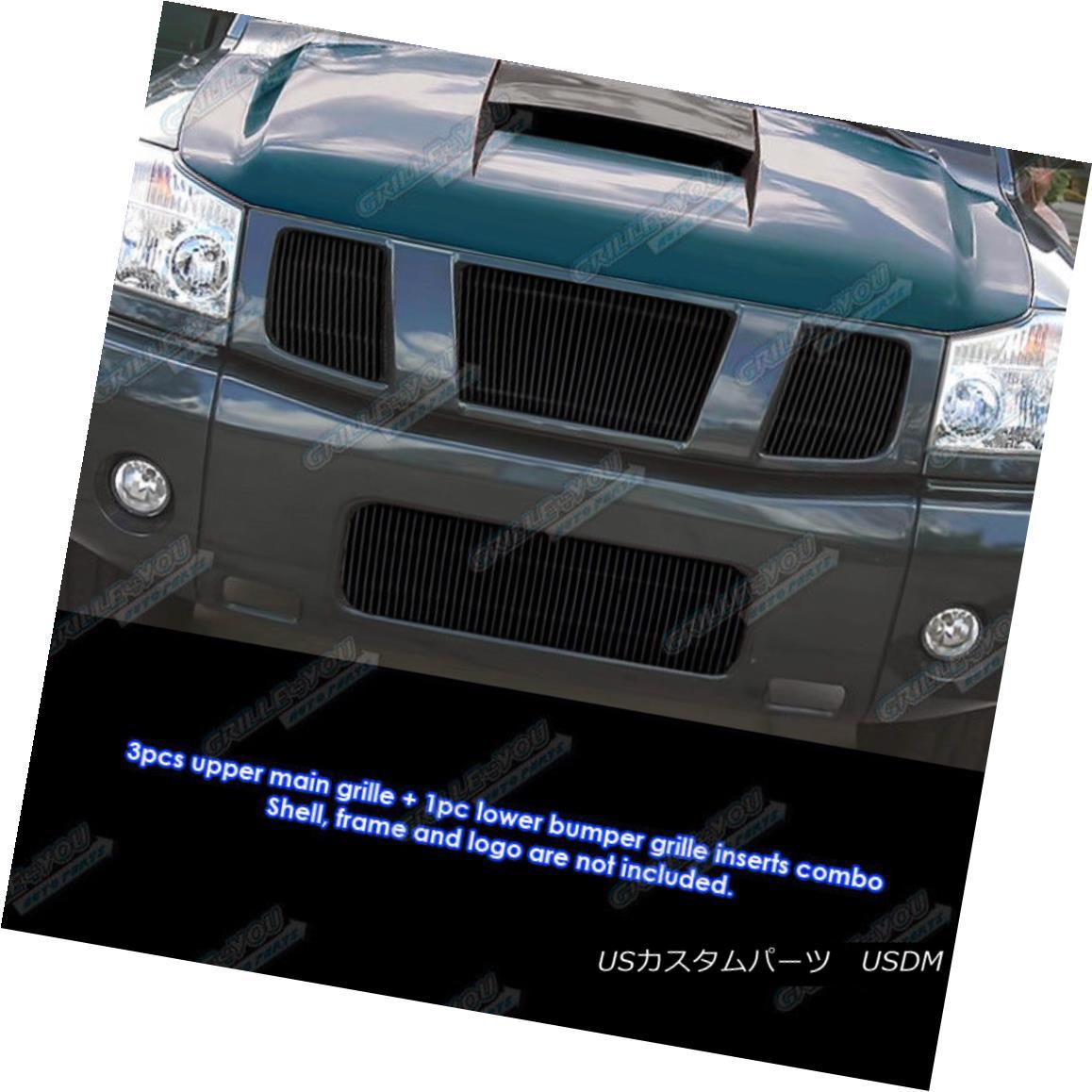 グリル Fits 2004-2007 Titan/Armada Black Vertical Billet Grille Combo フィット2004年?2007年タイタン/陸軍ブラック縦型ビレットグリルコンボ