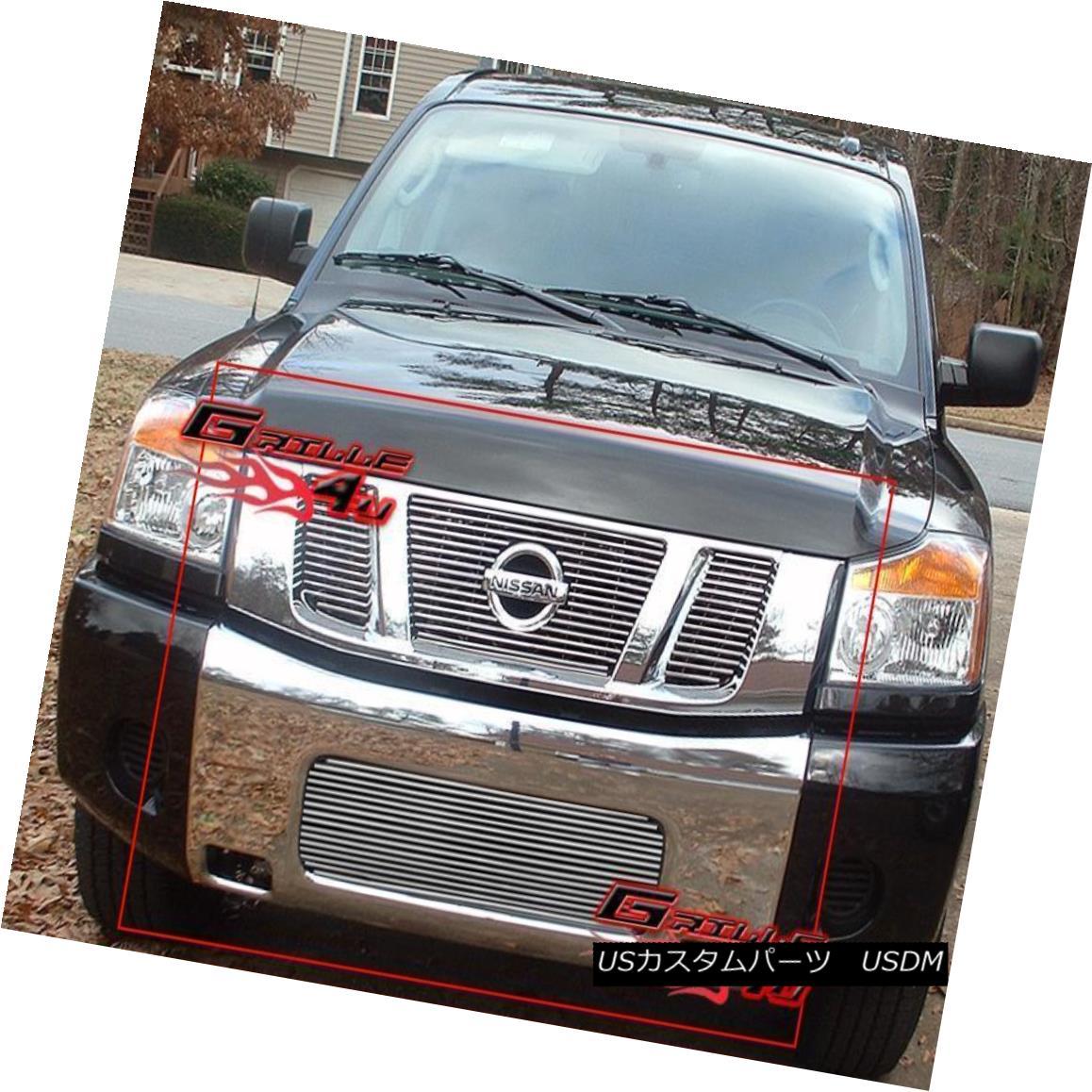 グリル Fits 08-14 2013 2014 Nissan Titan Billet Grille Combo フィット08-14 2013 2014日産タイタンビレットグリルコンボ