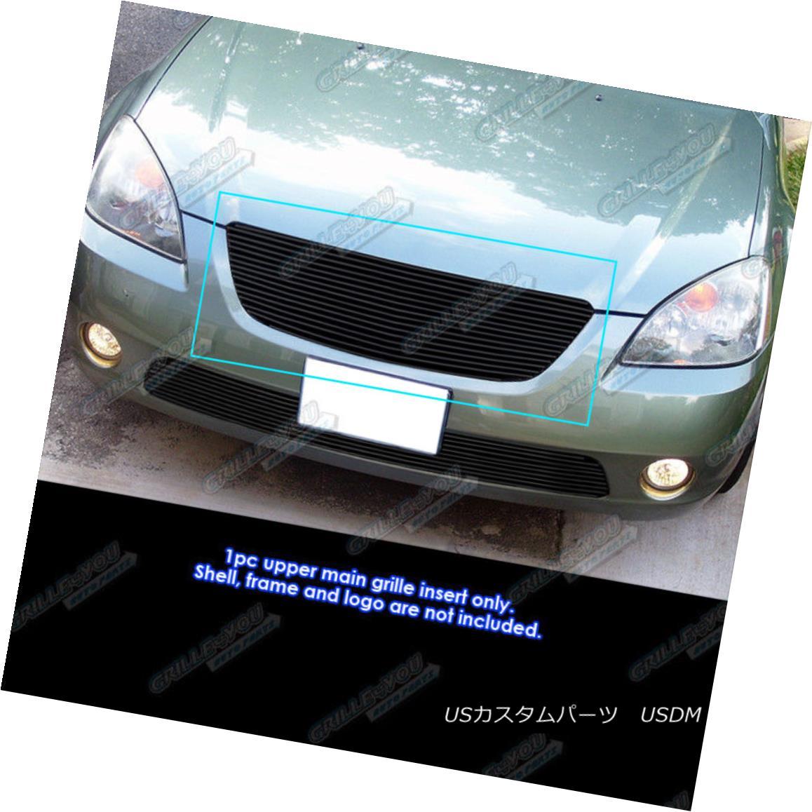 グリル Fits 2002-2004 Nissan Altima Black Main Upper Billet Grille Insert フィット2002-2004日産アルティマブラックメインアッパービレットグリルインサート