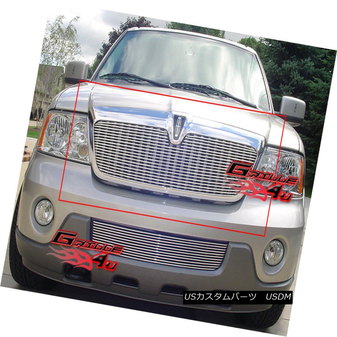 グリル Fits 2003-2006 Lincoln Navigator Main Upper Billet Grille Insert フィット2003-2006リンカーンナビゲーターメインアッパービレットグリルインサート