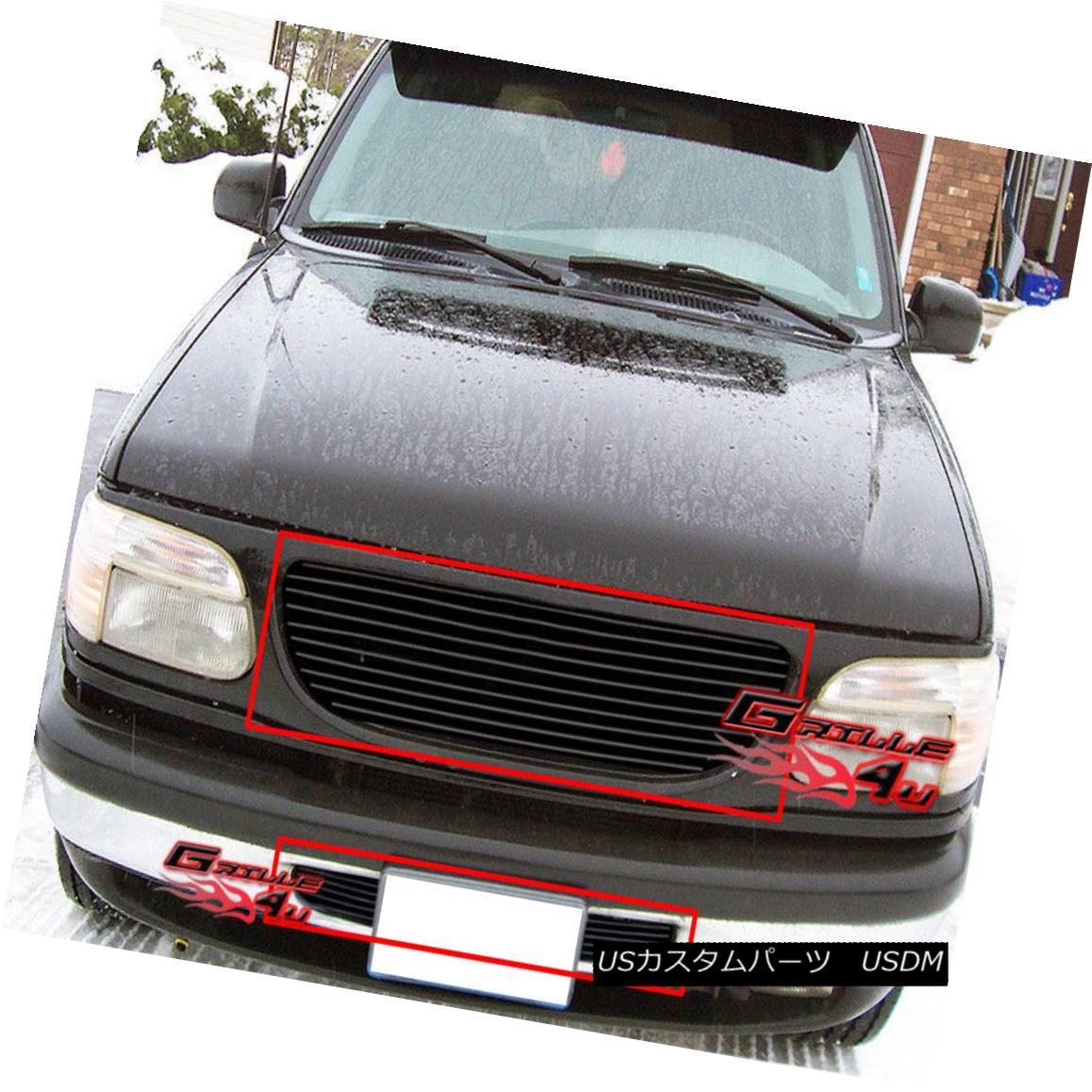 グリル Fits 95-98 Ford Explorer Black Billet Grille Combo フィット95-98フォードエクスプローラブラックビレットグリルコンボ