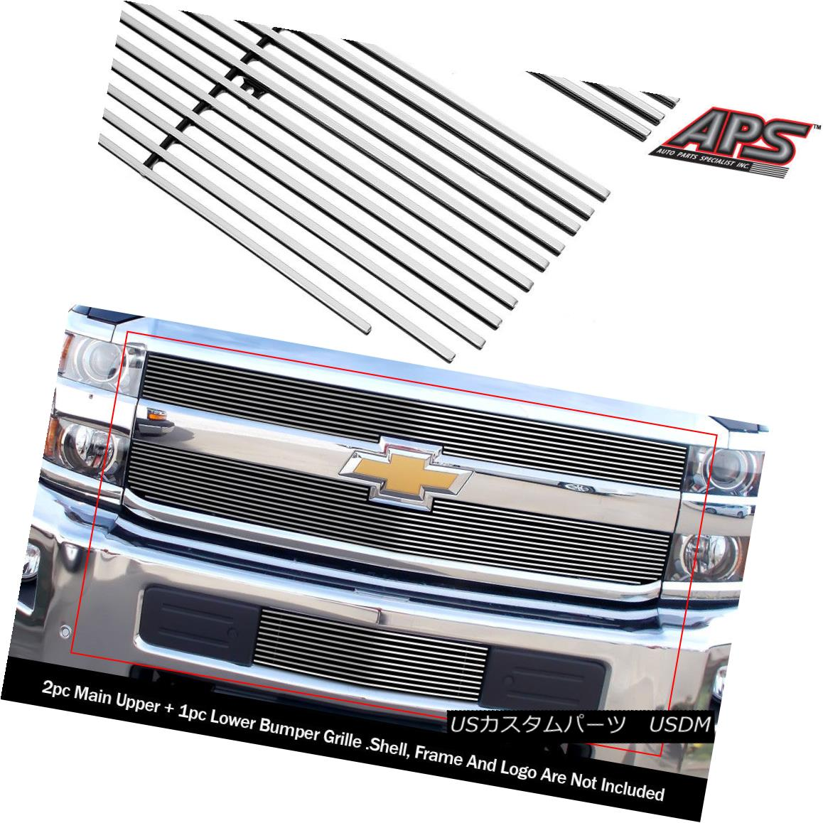 グリル Fits 2015-2018 Chevy Silverado 2500HD/3500HD Billet Grille Combo フィット2015-2018シボレーシルバラード2500HD / 3500HDビレットグリルコンボ