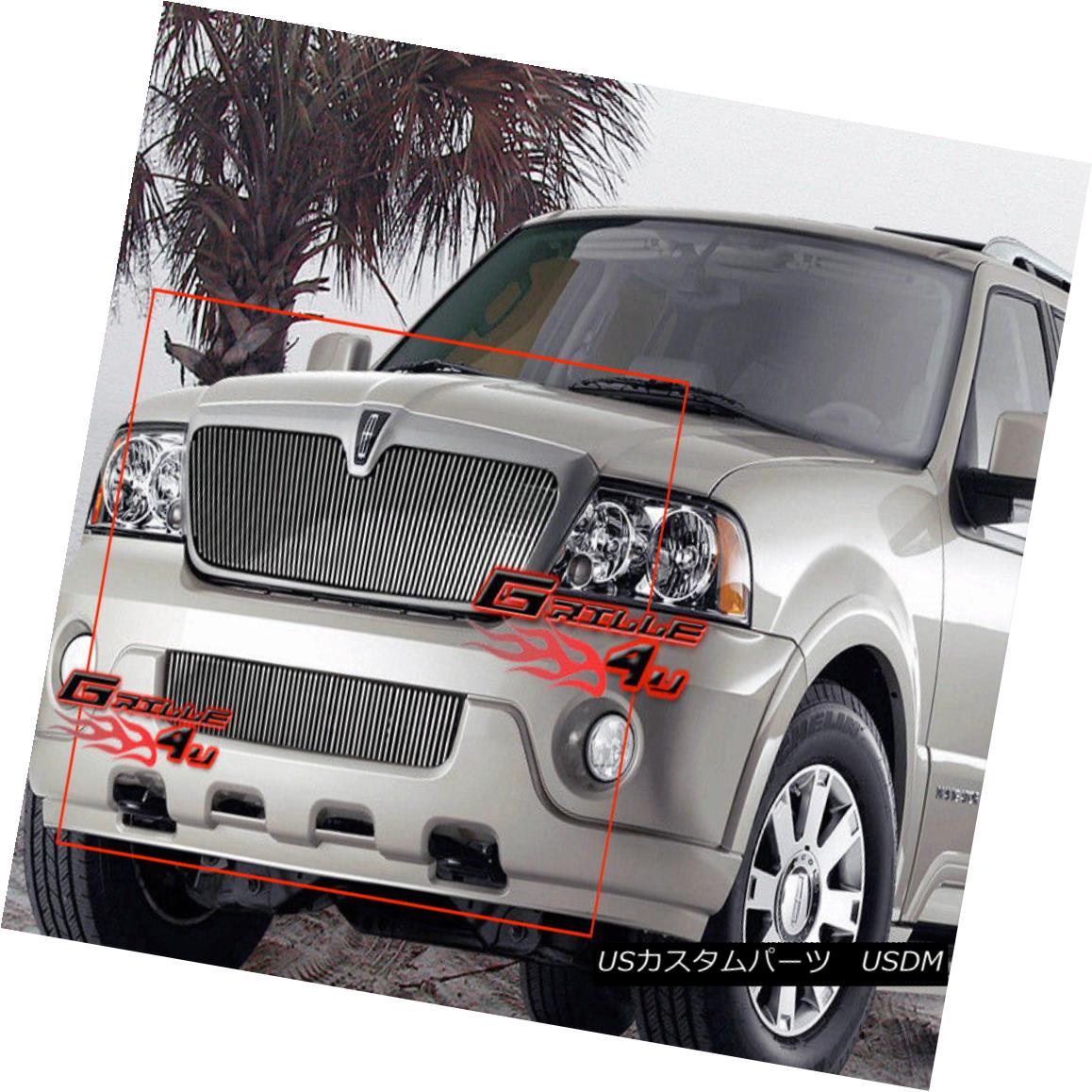 グリル Fits 03-04 Lincoln Navigator Vertical Billet Grille Combo フィット03-04リンカーンナビゲータ縦型ビレットグリルコンボ