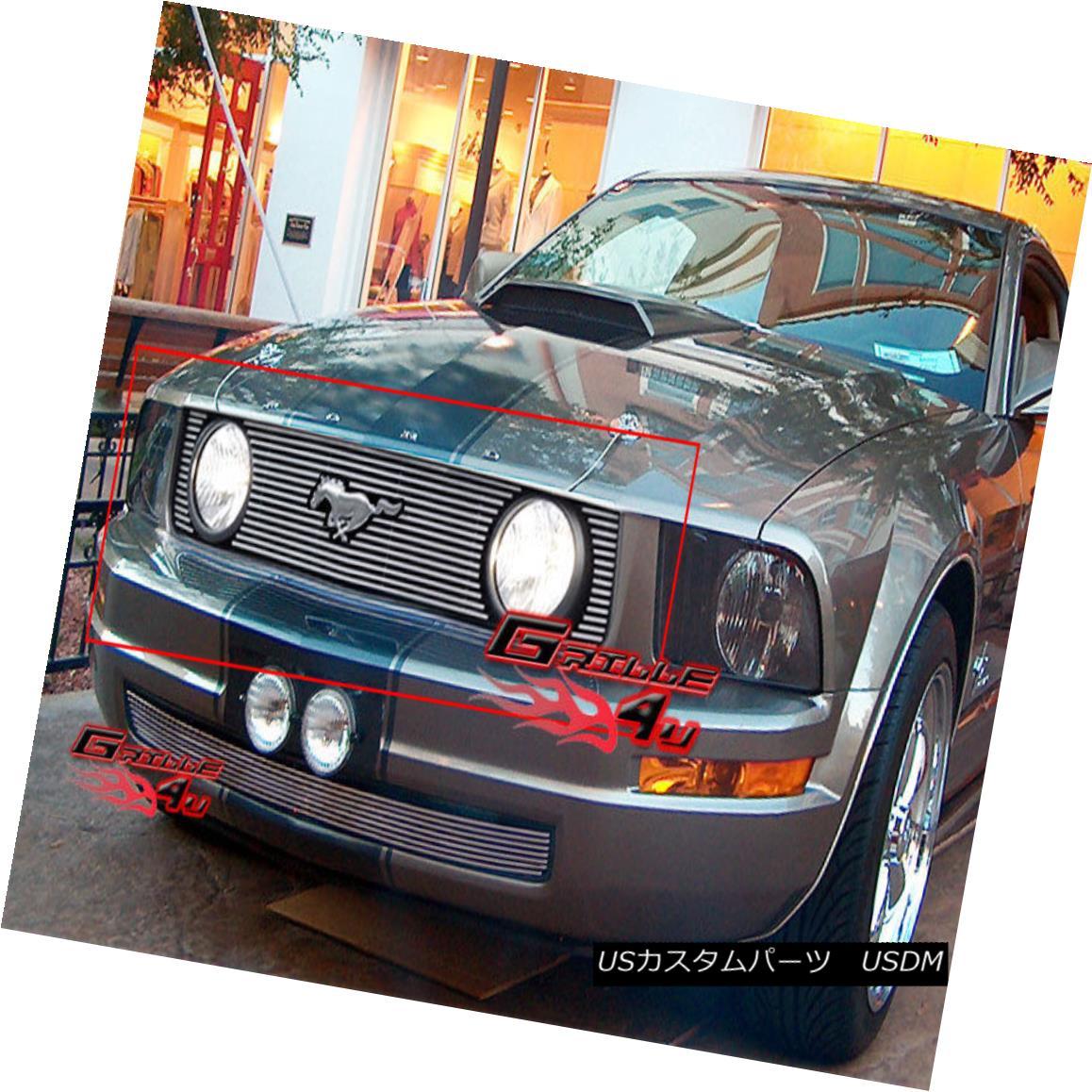 グリル Fits 2005-2009 Ford Mustang GT V8 Main Upper Billet Grille Insert フィット2005-2009フォードマスタングGT V8メインアッパービレットグリルインサート