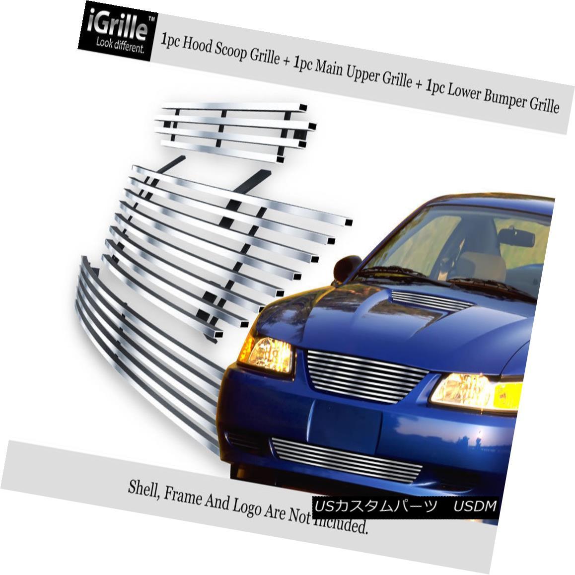 グリル 304 Stainless Steel Billet Grille Combo Fits 1999-2004 Ford Mustang 304ステンレス鋼のビレットグリルコンボは1999-2004 Ford Mustangに適合
