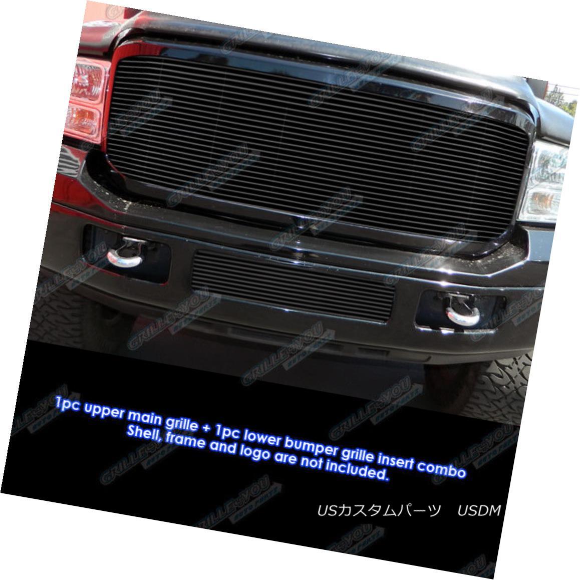 グリル For 05-07 Ford F-250/F-350/F-450/F-550 Black Billet Grille Grill Combo Insert 05-07フォードF-250 / F-350 / F- 450 / F-550ブラックビレットグリルグリルコンボインサート