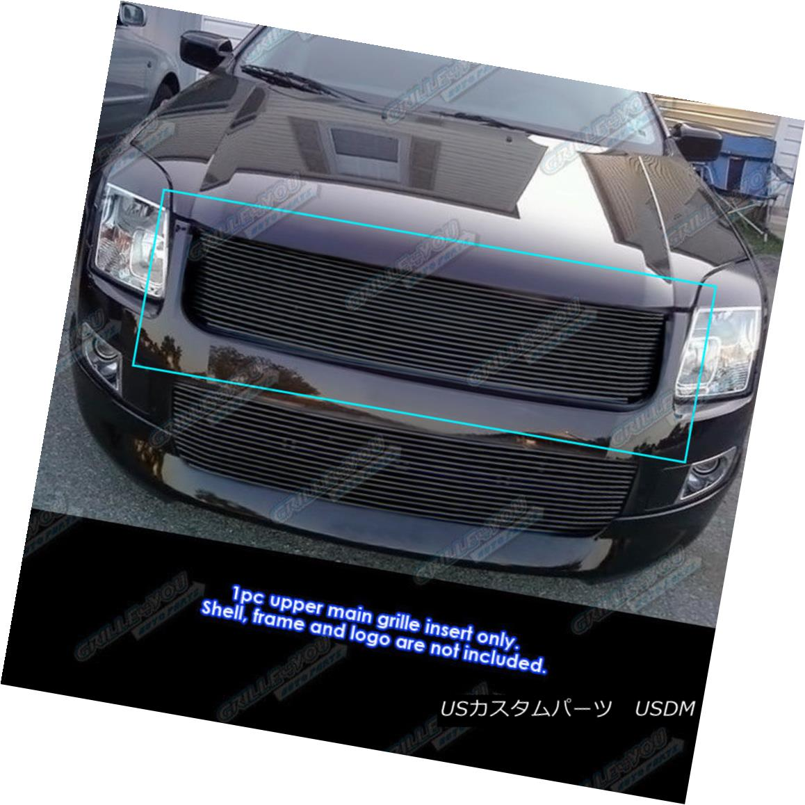 グリル Fits 2006-2009 Ford Fusion Black Main Upper Billet Grille Grill Insert フィット2006-2009フォードフュージョンブラックメインアッパービレットグリルグリルインサート