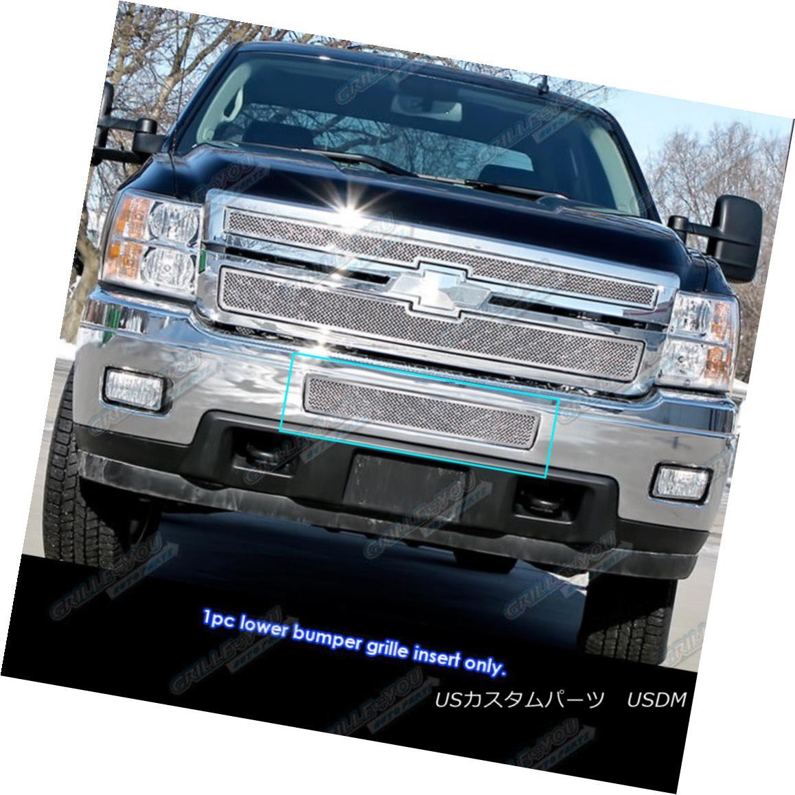 グリル 2011-2014 Chevy Silverado 2500HD/3500HD Stainless Steel Bumper Mesh Grille Grill 2011-2014シボレーシルバラード2500HD / 3500HDステンレス鋼バンパーメッシュグリルグリル