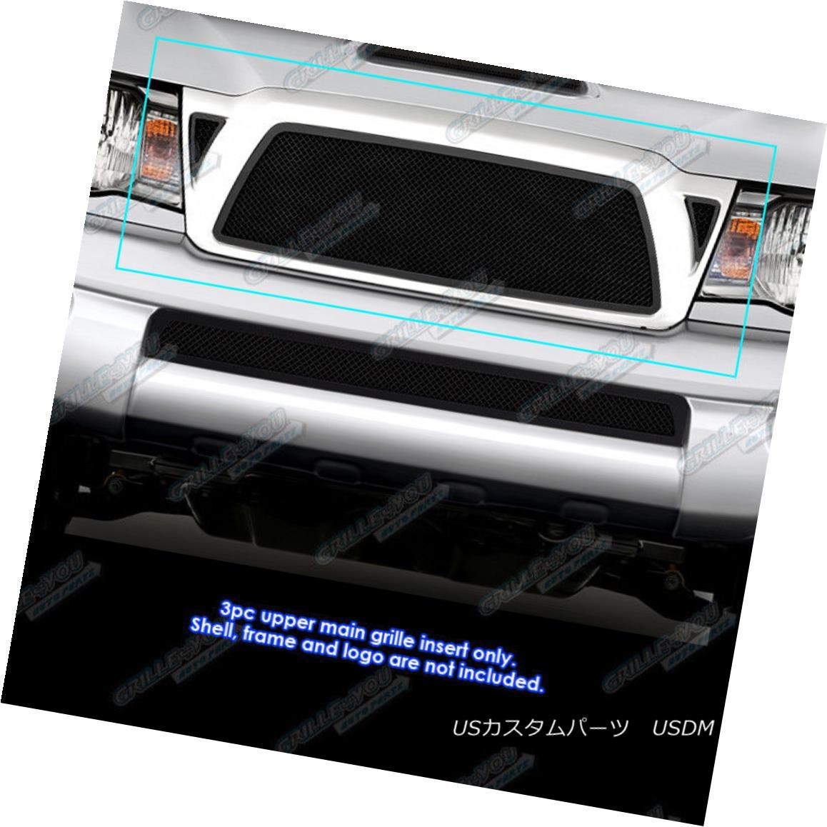 グリル Fits 2005-2010 Toyota Tacoma Black Stainless Steel Mesh Grille Grill Insert フィット2005-2010トヨタタコマブラックステンレスメッシュグリルグリルインサート