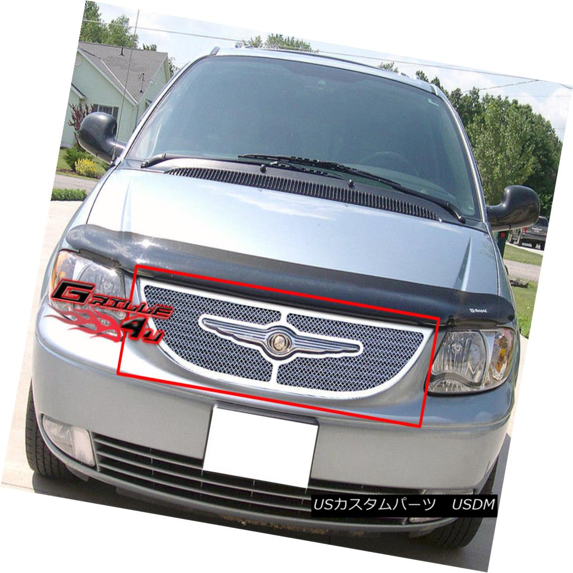 グリル Fits 01-04 Chrysler Town & Country Stainless Mesh Grille フィット01-04クライスラータウン& カントリーステンレスメッシュグリル