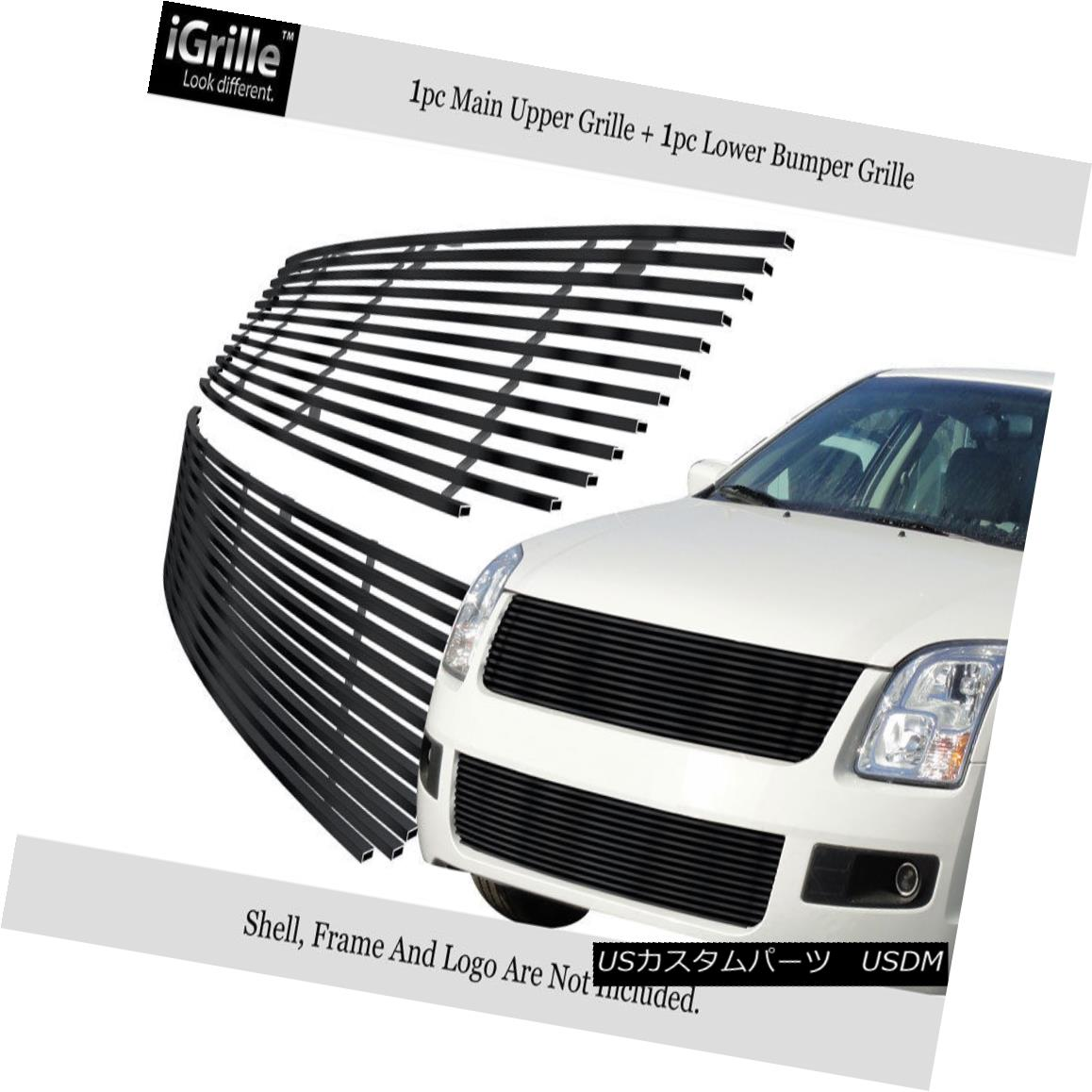 グリル Fits 06-09 Ford Fusion Black Black Stainless Steel Billet Grille Combo Insert フィット06-09フォードフュージョンブラックブラックステンレス鋼ビレットグリルコンボインサート