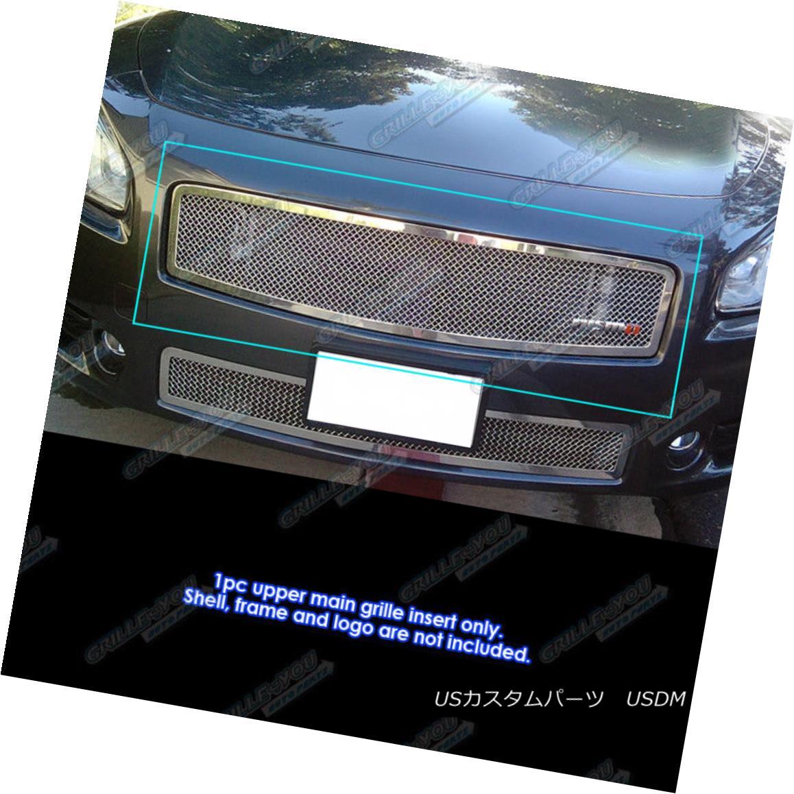 グリル Fits 2009-2014 Nissan Maxima Upper Stainless Steel Mesh Grille Grill Insert フィット2009-2014日産マキシマ上部ステンレスメッシュグリルグリルインサート
