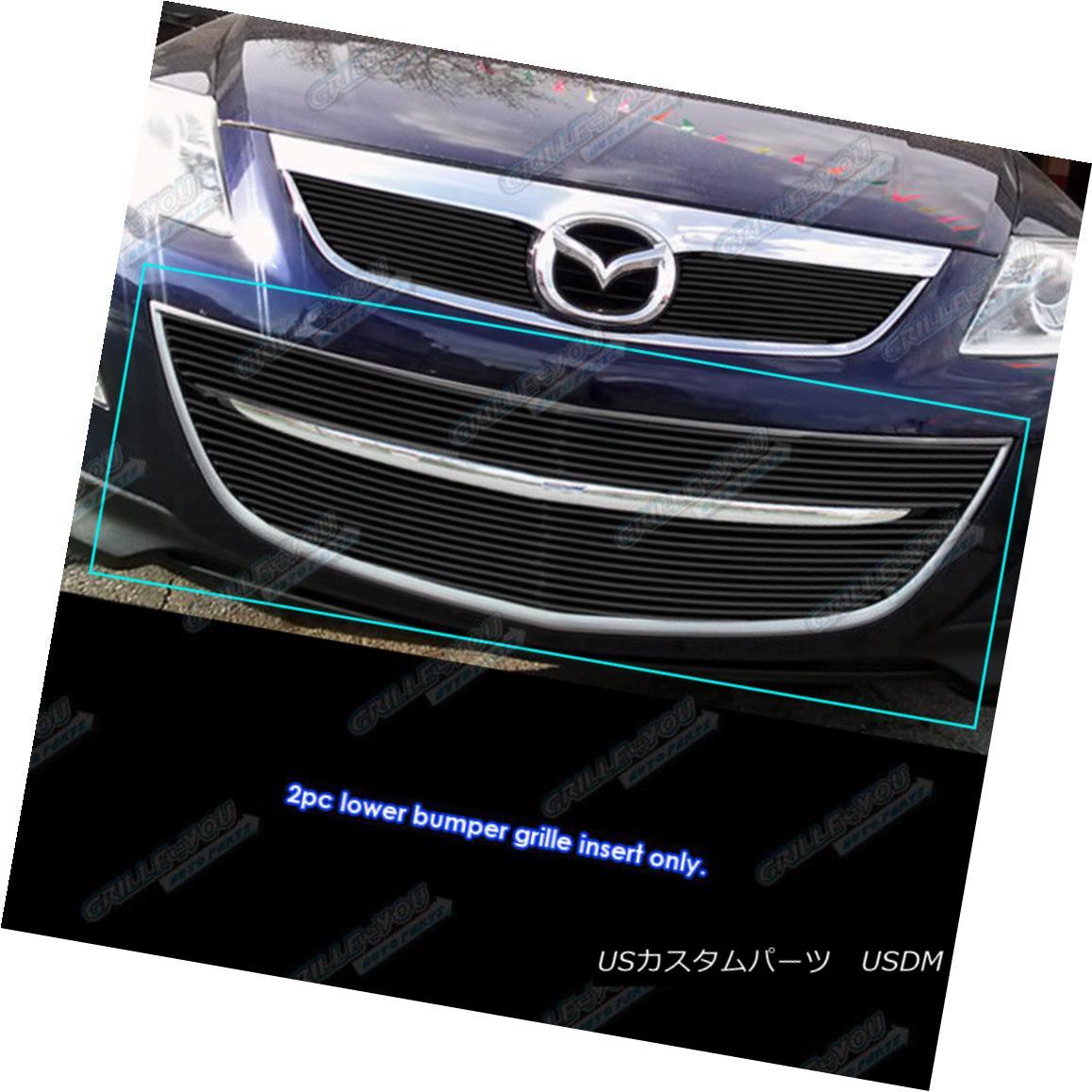 グリル Fits 2010-2013 Mazda CX-9 Black Bumper Billet Grille Grill Insert フィット2010-2013マツダCX - 9ブラックバンパービレットグリルグリルインサート