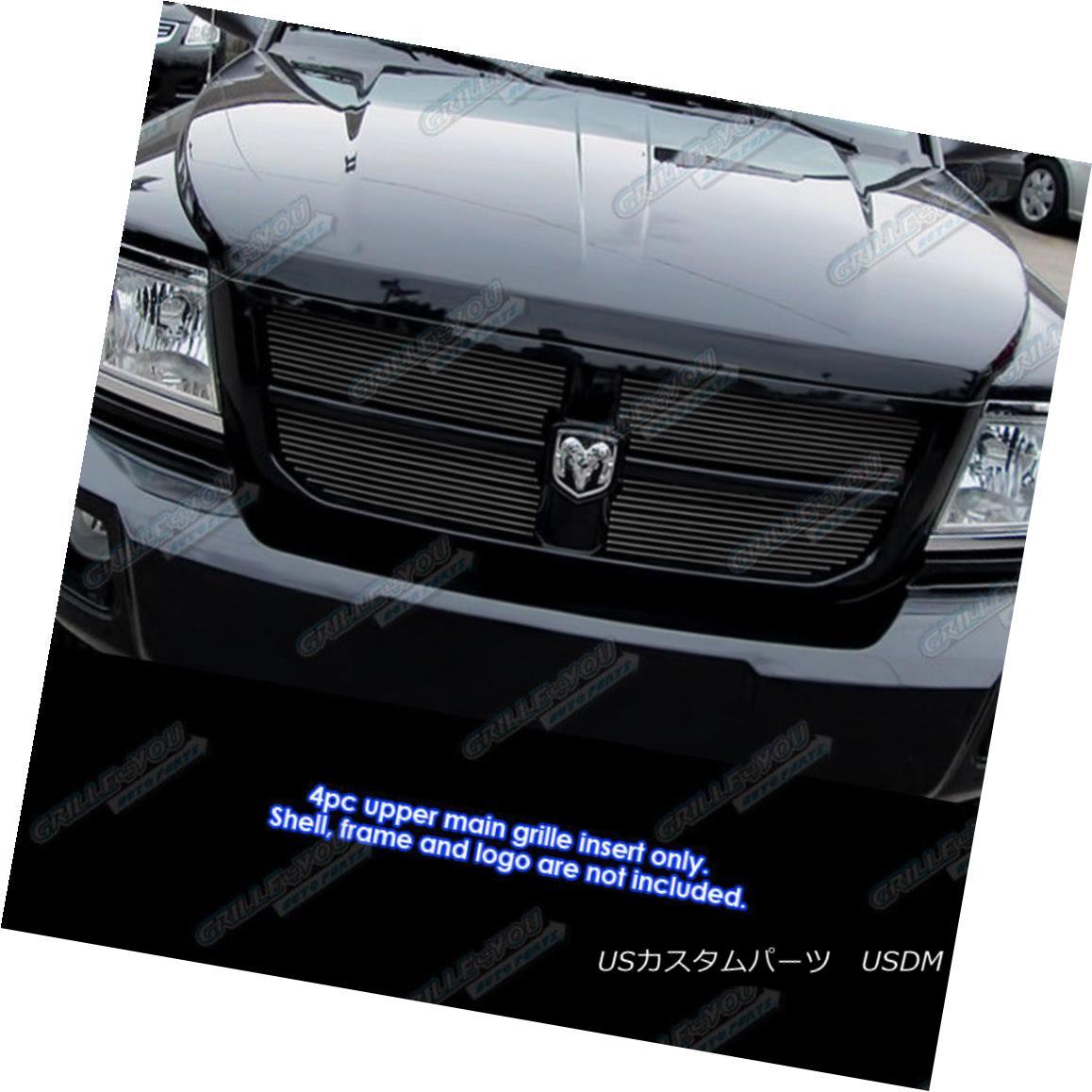 グリル Fits 2008-2010 Dodge Dakota Black Main Upper Billet Grille Grill Insert フィット2008-2010ダッジダコタブラックメインアッパービレットグリルグリルインサート
