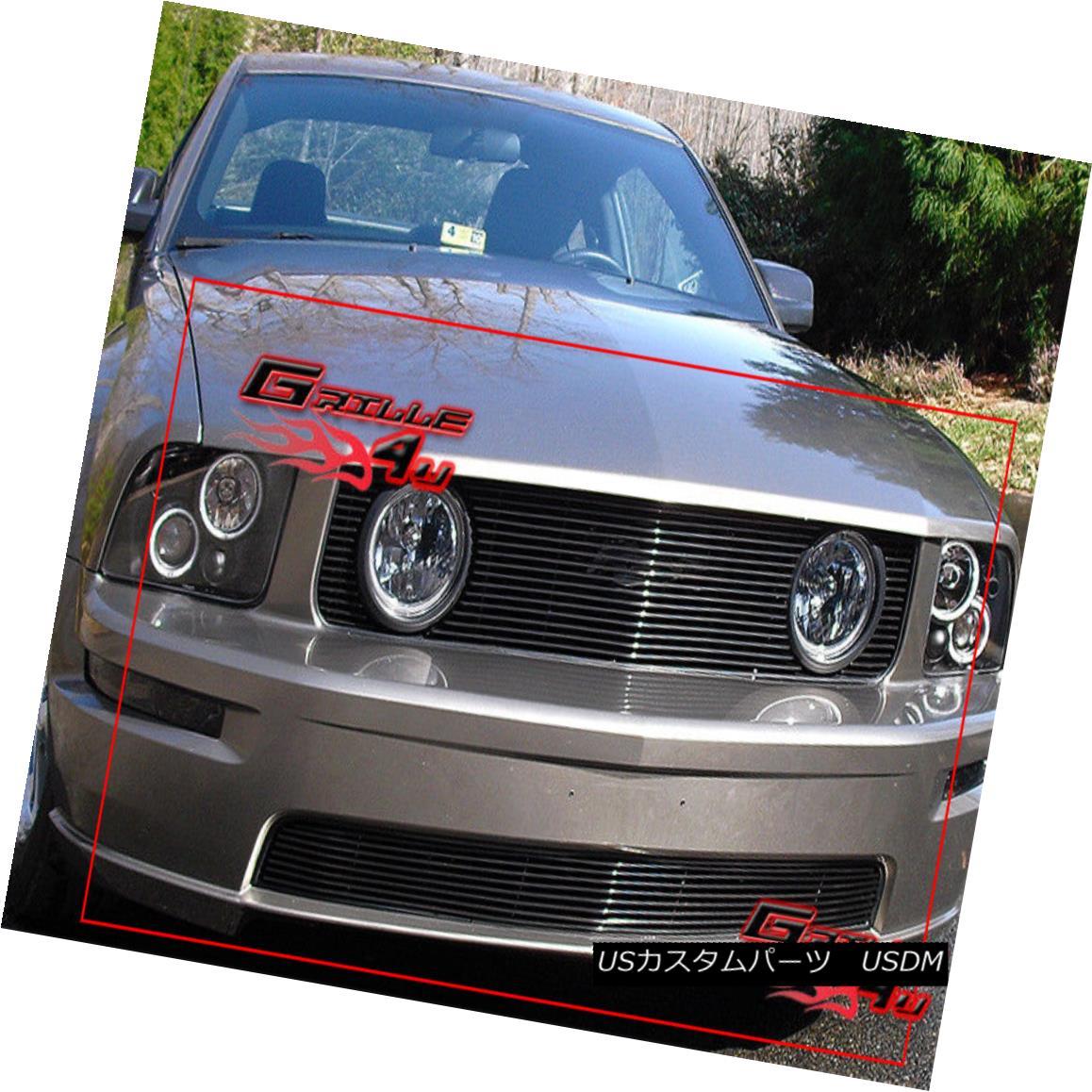 グリル Fits 2005-2009 Ford Mustang GT V8 Black Billet Grille Combo フィット2005-2009フォードマスタングGT V8ブラックビレットグリルコンボ