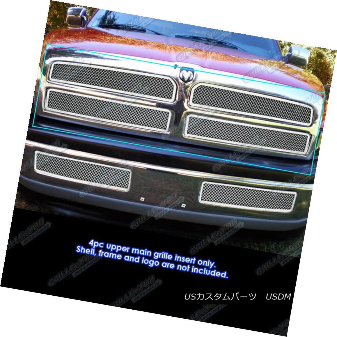グリル For 1994-2001 Dodge Ram Pickup Stainless Steel Mesh Grille Grill Insert 1994年から2001年までDodge Ram Pickupステンレスメッシュグリルグリルインサート