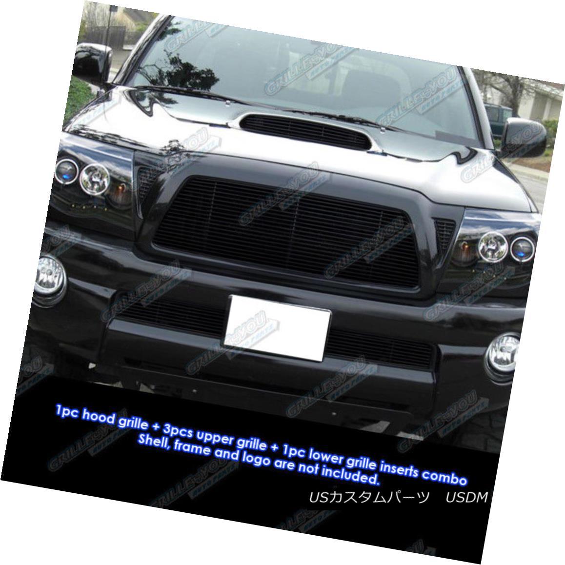 グリル Fits 2005-2010 Toyota Tacoma TRD Sport Black Billet Grille Grill Combo Insert フィット2005-2010トヨタタコマTRDスポーツブラックビレットグリルグリルコンボインサート