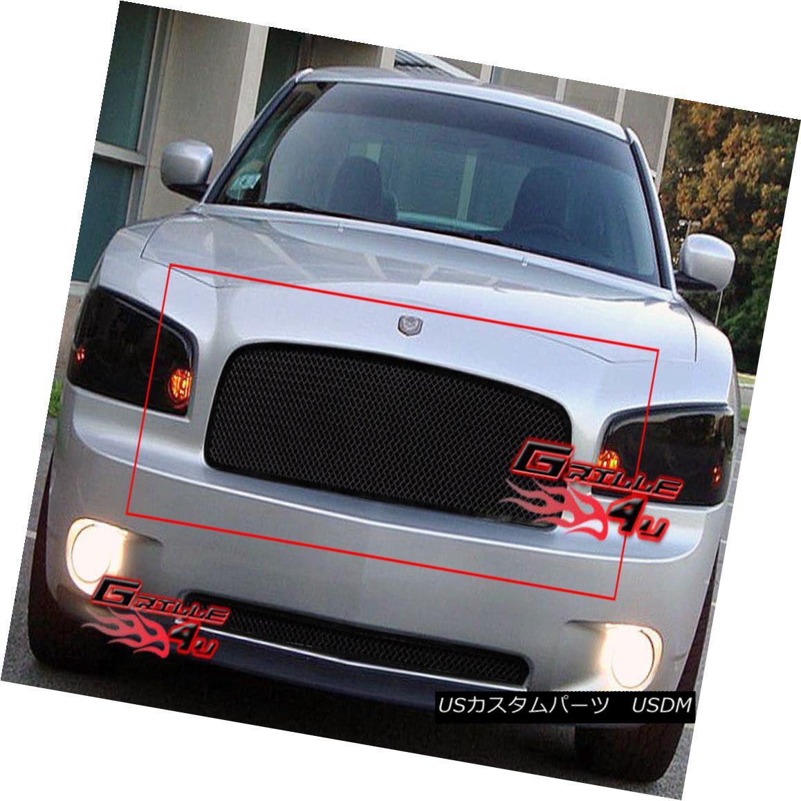 グリル Fits 2005-2010 Dodge Charger Black Stainless Mesh Grille Insert フィット2005-2010ダッジチャージャブラックステンレスメッシュグリルインサート