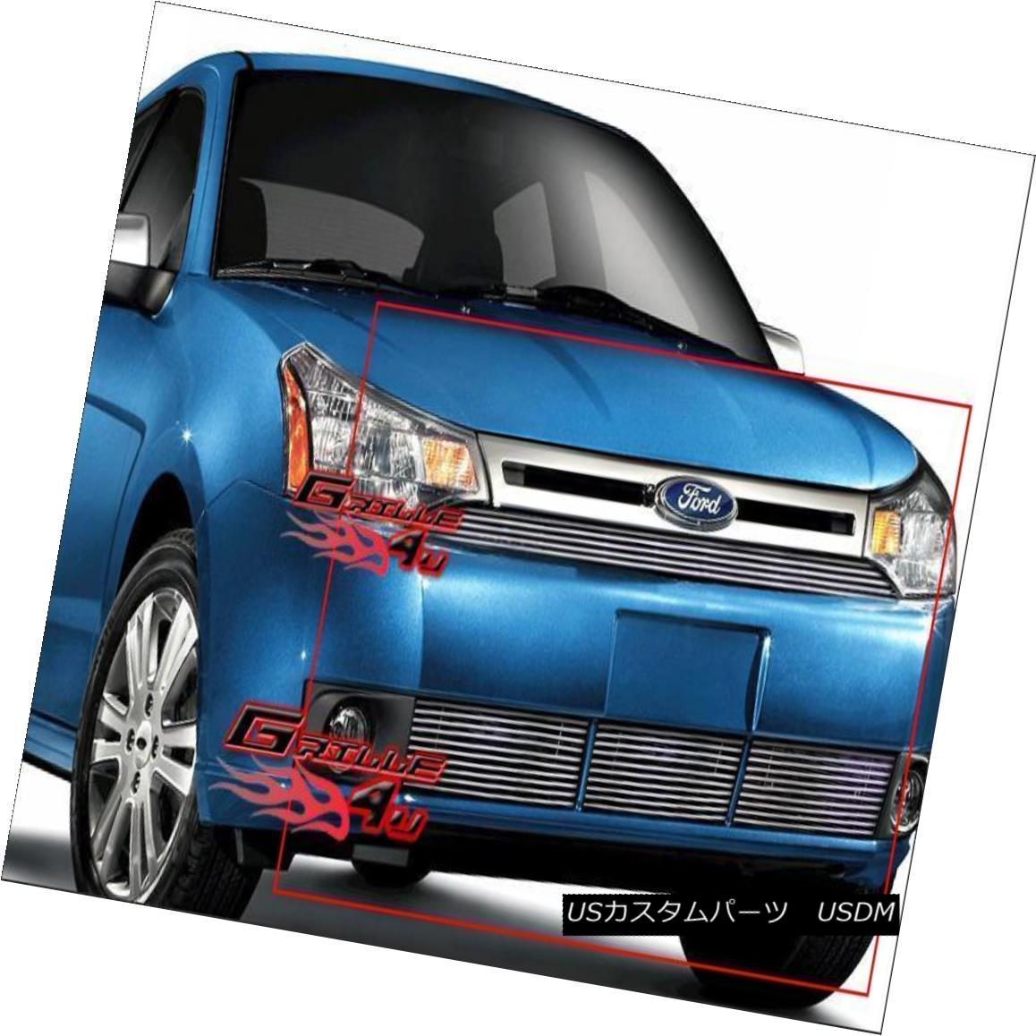 グリル Fits 08-11 2011 Ford Focus Sedan Billet Grille Combo フィット2011年08月11日フォードフォーカスセダンビレットグリルコンボ