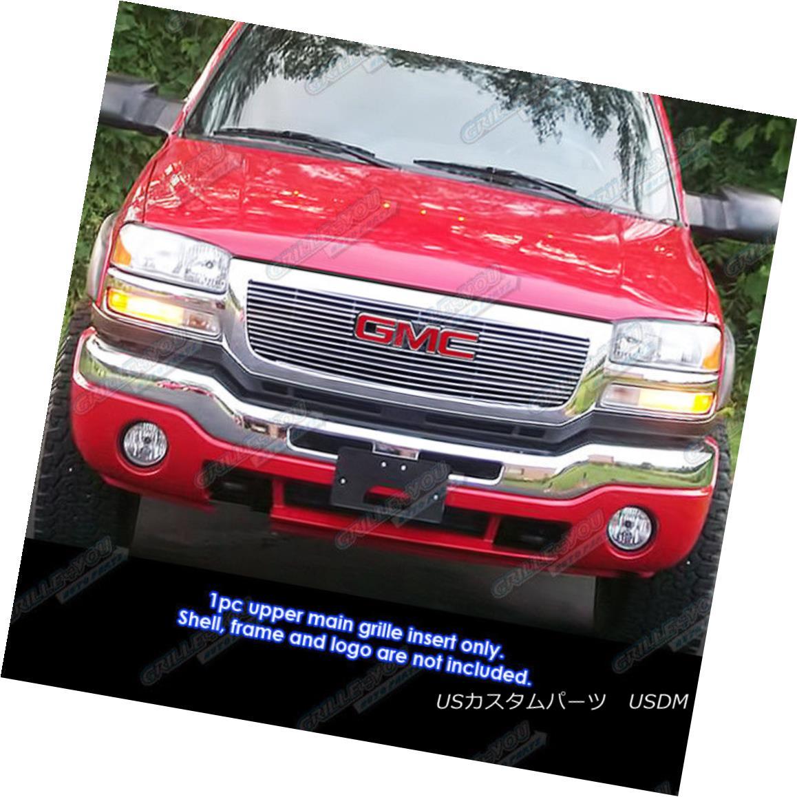 グリル Fits 03-06 GMC Sierra 1500/2500HD/3500 Main Upper Billet Grille Insert フィット03-06 GMC Sierra 1500 / 2500HD / 35 00メインアッパービレットグリルインサート