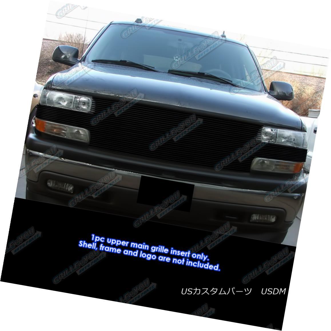 グリル Fits 1999-2002 Chevy Silverado 1500/2000-2006 Tahoe Black Billet Grille 適合1999-2002シボレーシルバラード1500 / 2000-2006タホブラックビレットグリル