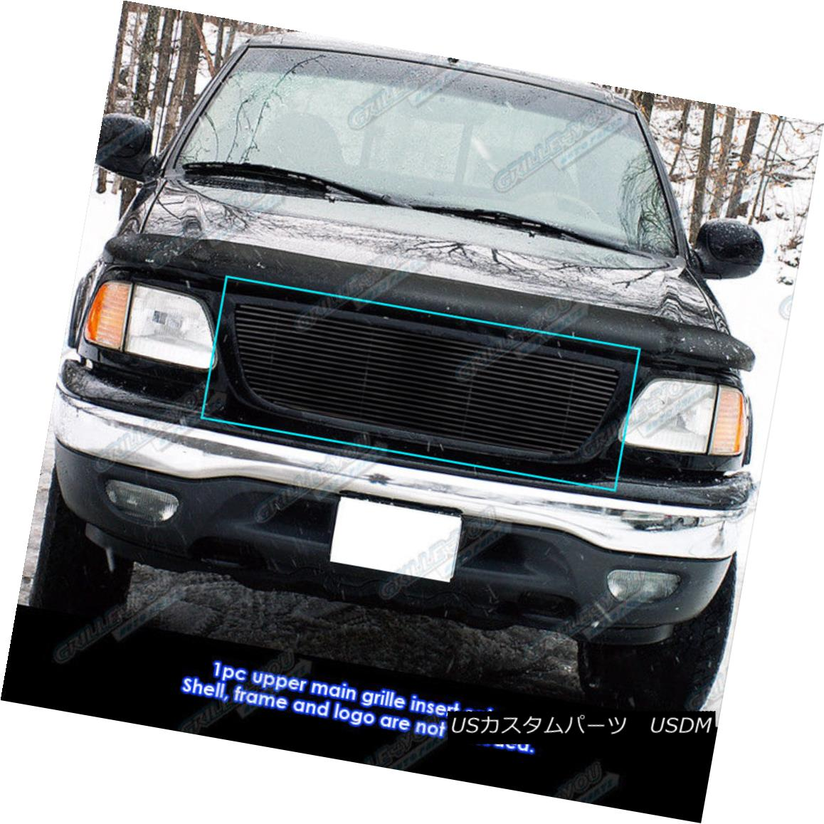グリル Fits 99-03 Ford F-150/Lightning/Harley Black Main Upper Billet Grille フィット99-03 Ford F-150 / Lightnin g / Harley Blackメインアッパービレットグリル