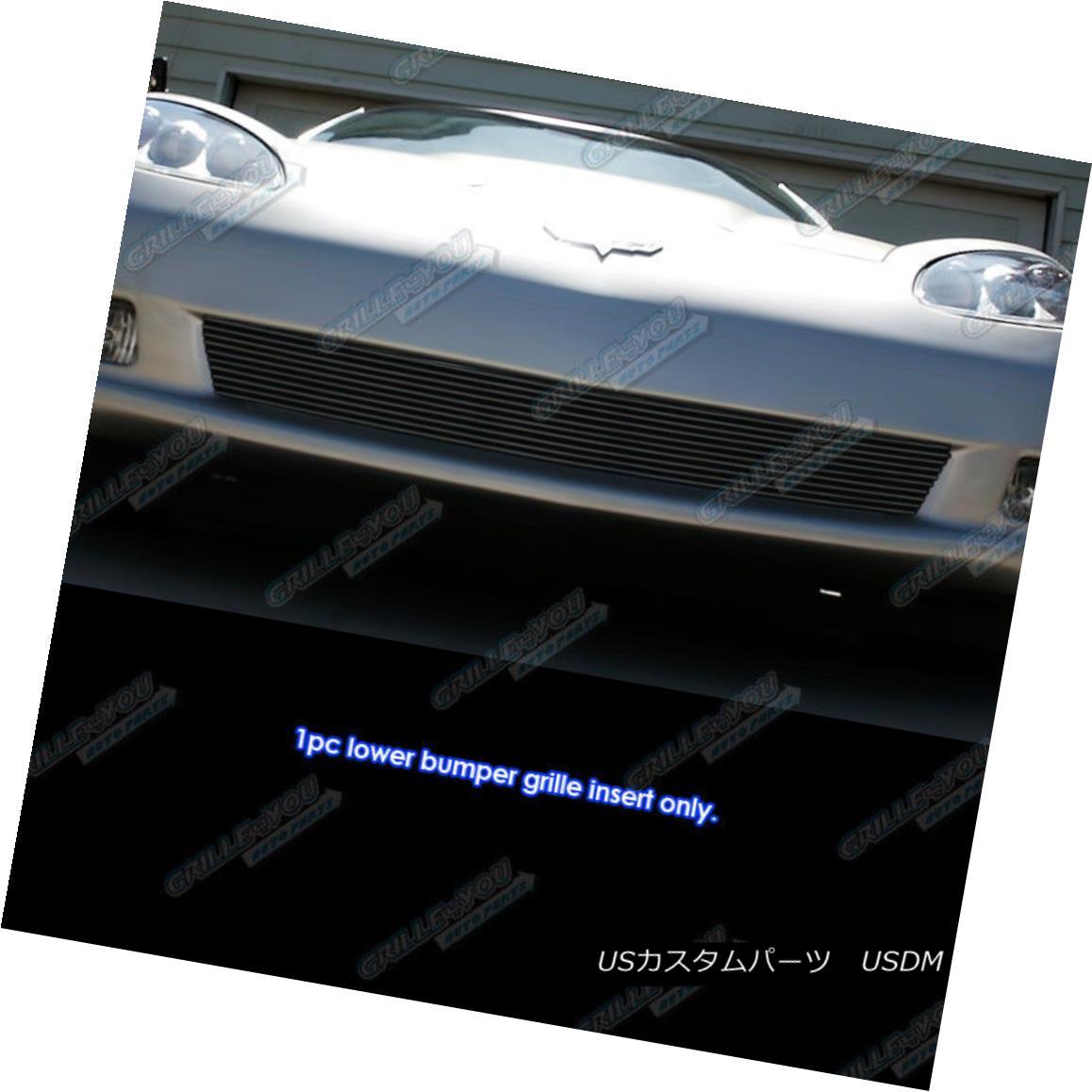 グリル Fits 2006-2010 Chevy Corvette C6 Bumper Black Billet Grille Grill Insert フィット2006年 - 2010年シボレーコルベットC6バンパーブラックビレットグリルグリルインサート