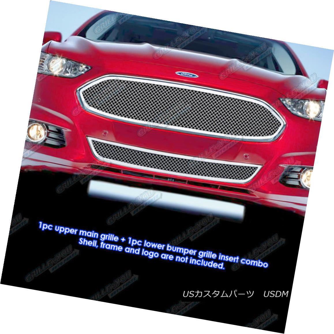 グリル Fits 2013-2014 Ford Fusion Stainless Steel Bolt Over Mesh Grille Combo フィット2013-2014フォードフュージョンステンレスボルトメッシュグリルコンボ