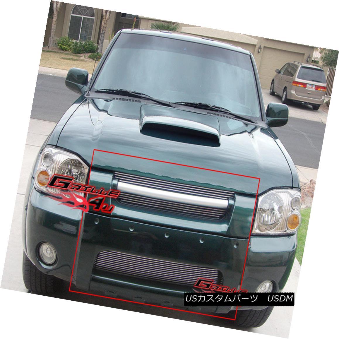 グリル Fits 01-04 Nissan Frontier Billet Grille Combo Upper+Lower フィット01-04日産フロンティアビレットグリルコンボアッパー+ロワー