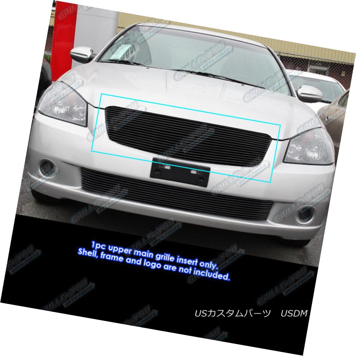 グリル Fits 2005-2006 Nissan Altima Black Main Upper Billet Grille Insert フィット2005-2006日産アルティマブラックメインアッパービレットグリルインサート