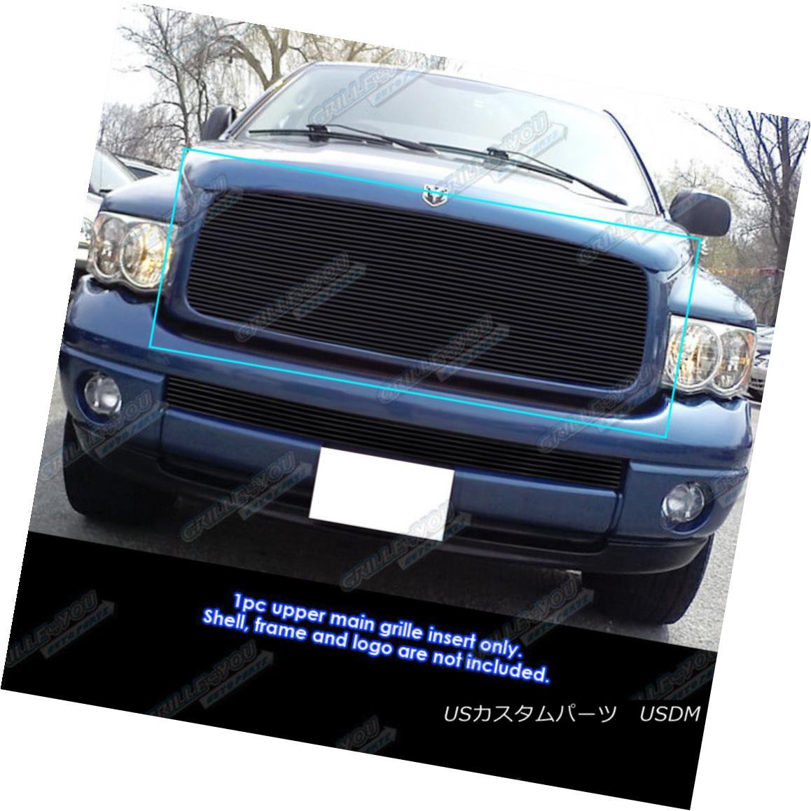 グリル Fits 2002-2005 Dodge Ram 1500/2500/3500 Black Billet Grille Insert フィット2002-2005ダッジラム1500/2500/3500ブラックビレットグリルインサート